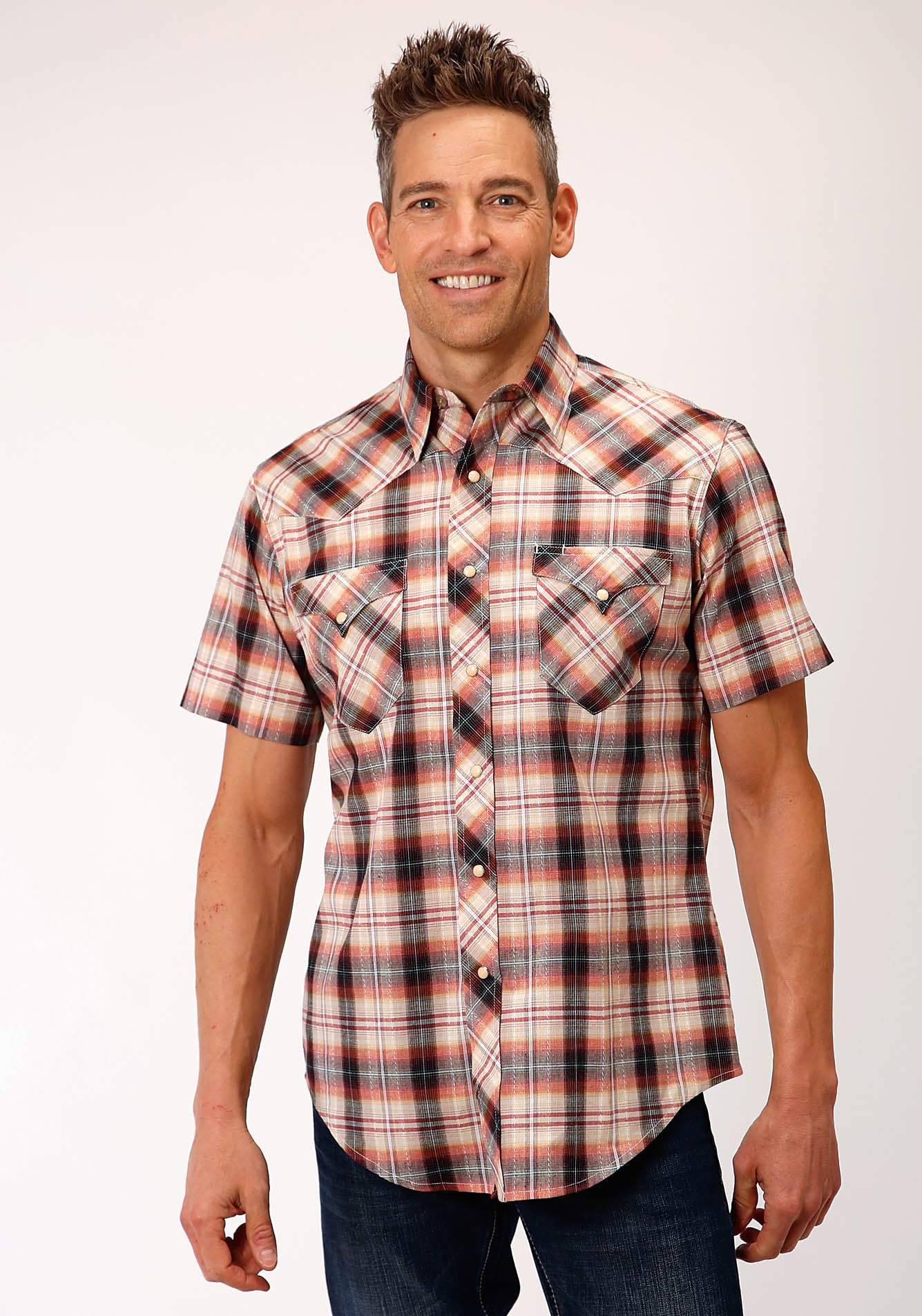 ROPER MENS MULTI 00188 ROPE PLAID WEST MADE COLLECTION SHORT SLEEVE