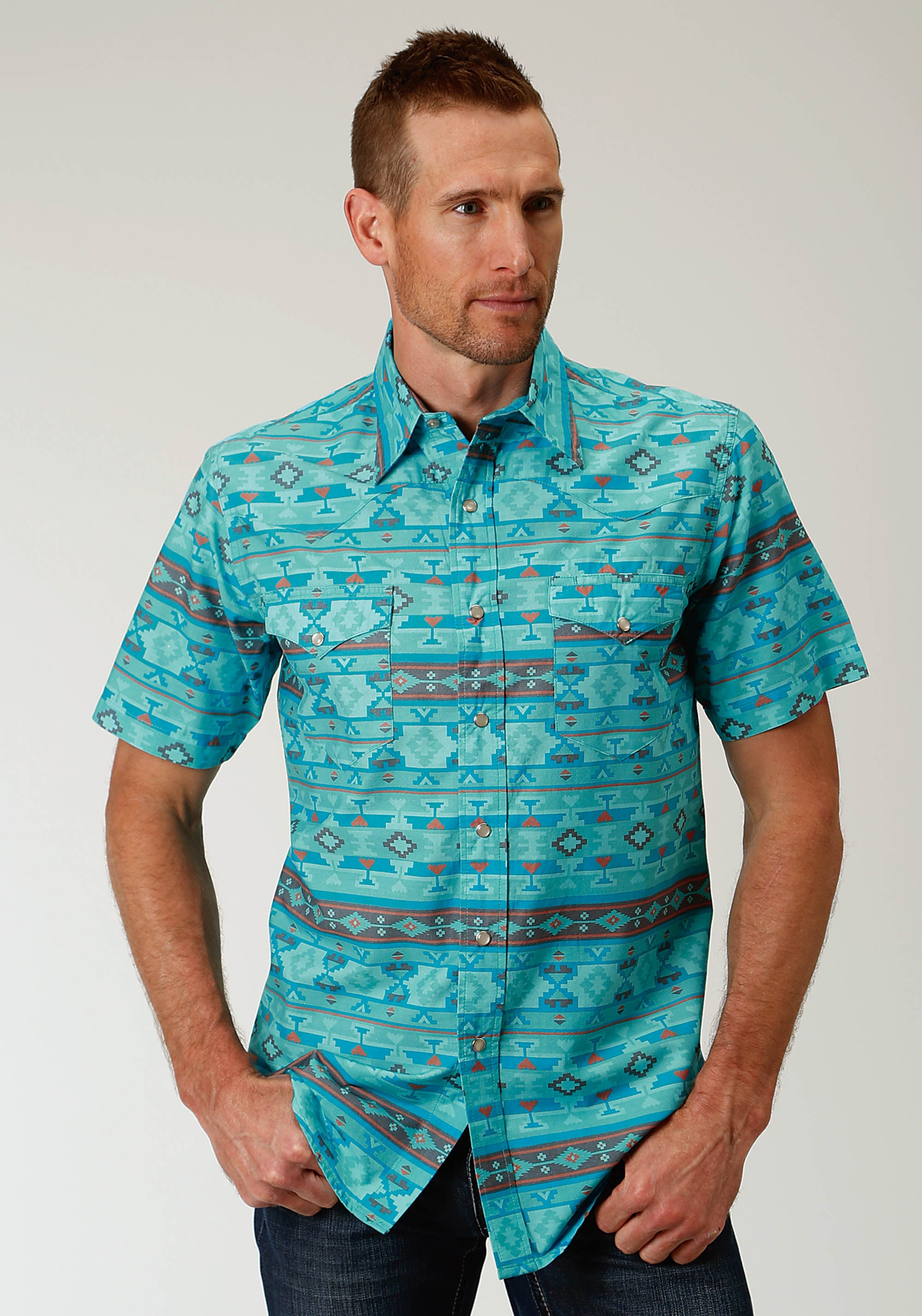 ROPER MENS BLUE 2609 BLUE HORRIZON AZTEC WEST MADE COLLECTION SHORT SLEEVE