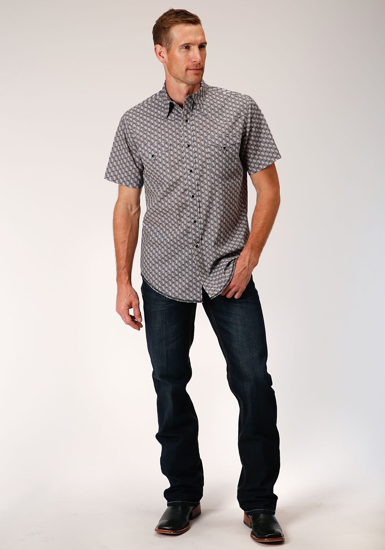 ROPER MENS GREY 00074 PAISLEY NEAT WEST MADE COLLECTION SHORT SLEEVE