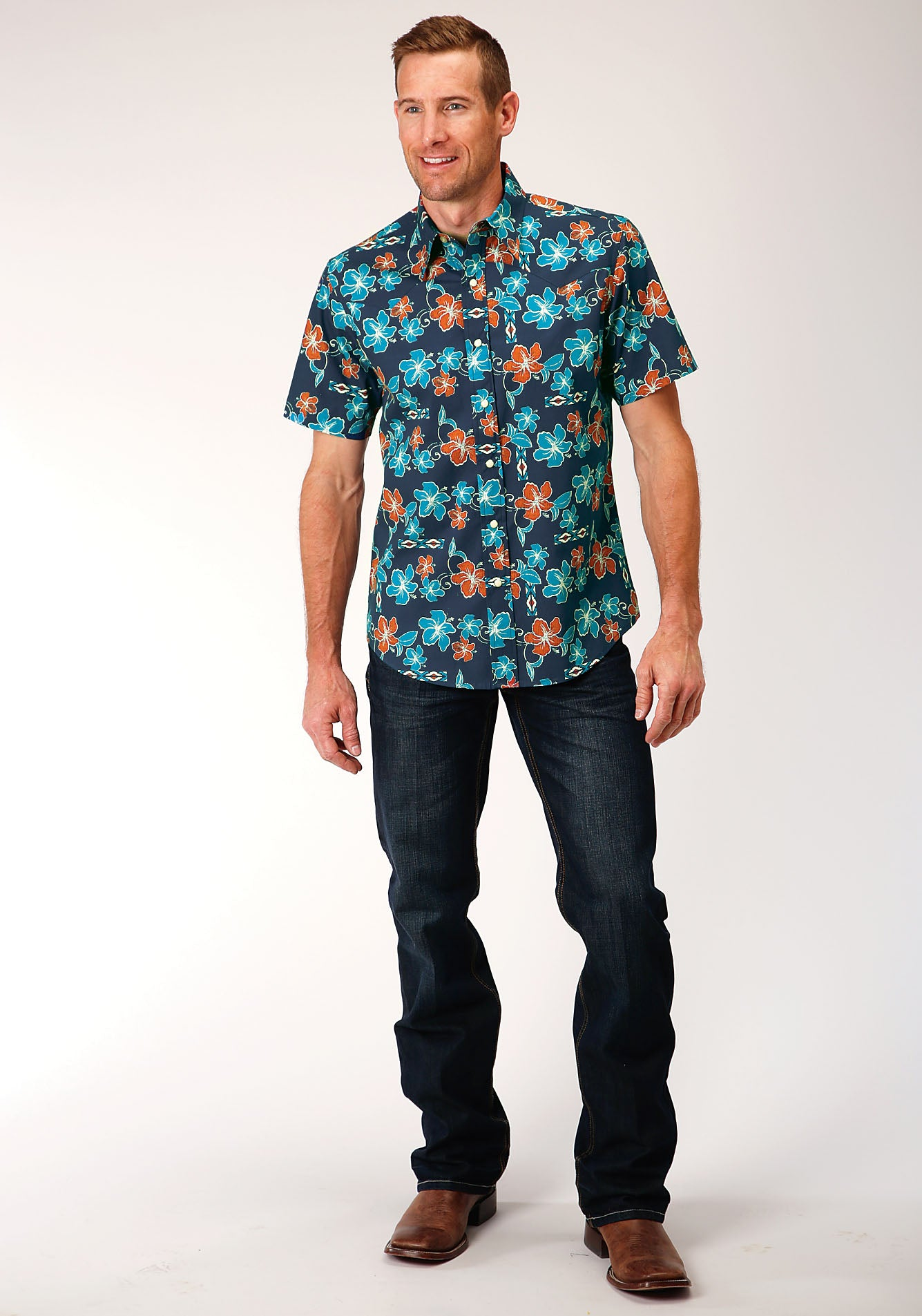 ROPER MENS BLUE 00081 NEW TROPTICAL PRINT WEST MADE COLLECTION SHORT SLEEVE
