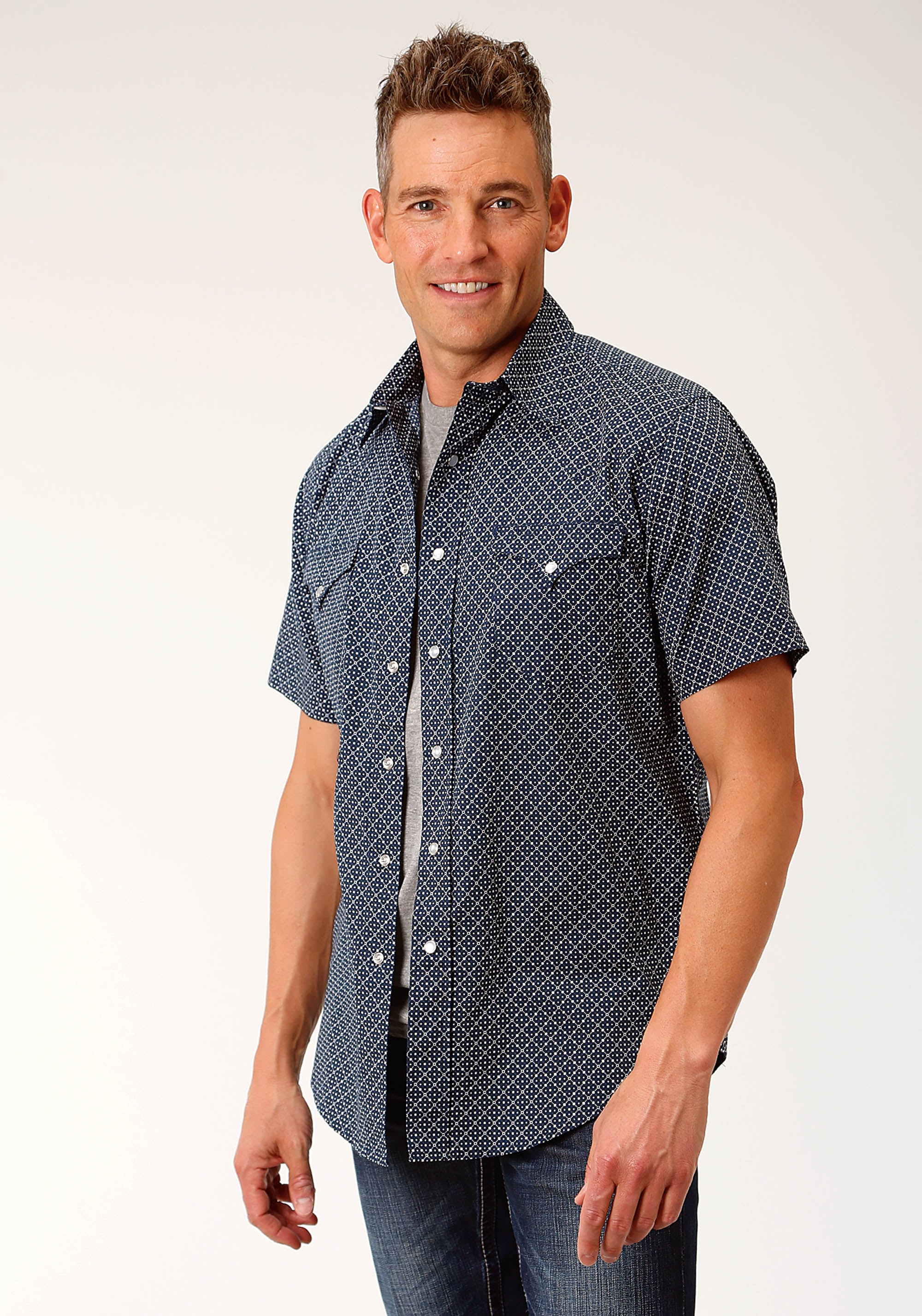 ROPER MENS BLUE 3871 DISC GEO WEST MADE COLLECTION SHORT SLEEVE