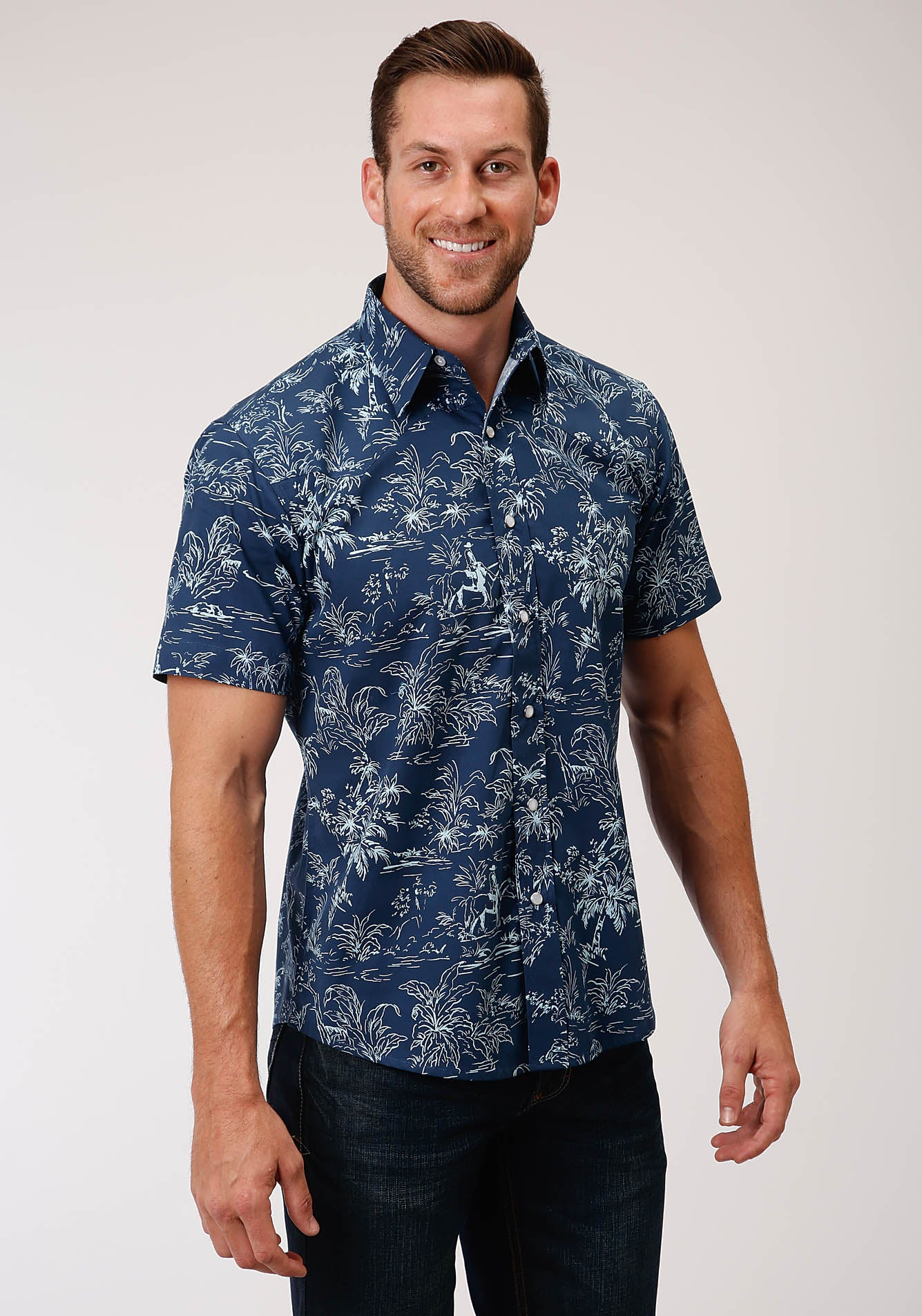 ROPER MENS BLUE 00181 THE TROPICS PRINT WEST MADE COLLECTION SHORT SLEEVE