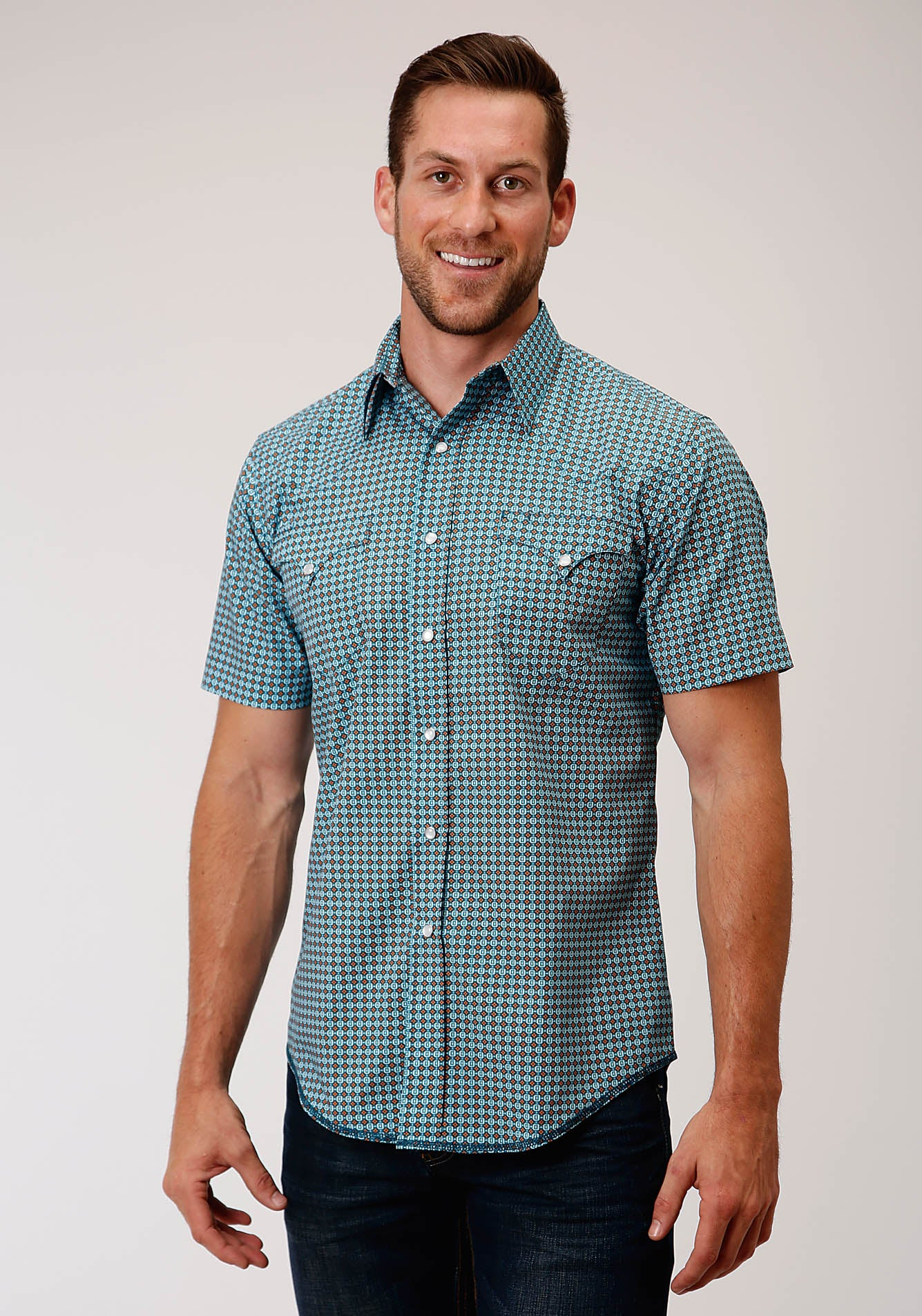 ROPER MENS BLUE 00183 CENTRAL GEO WEST MADE COLLECTION SHORT SLEEVE