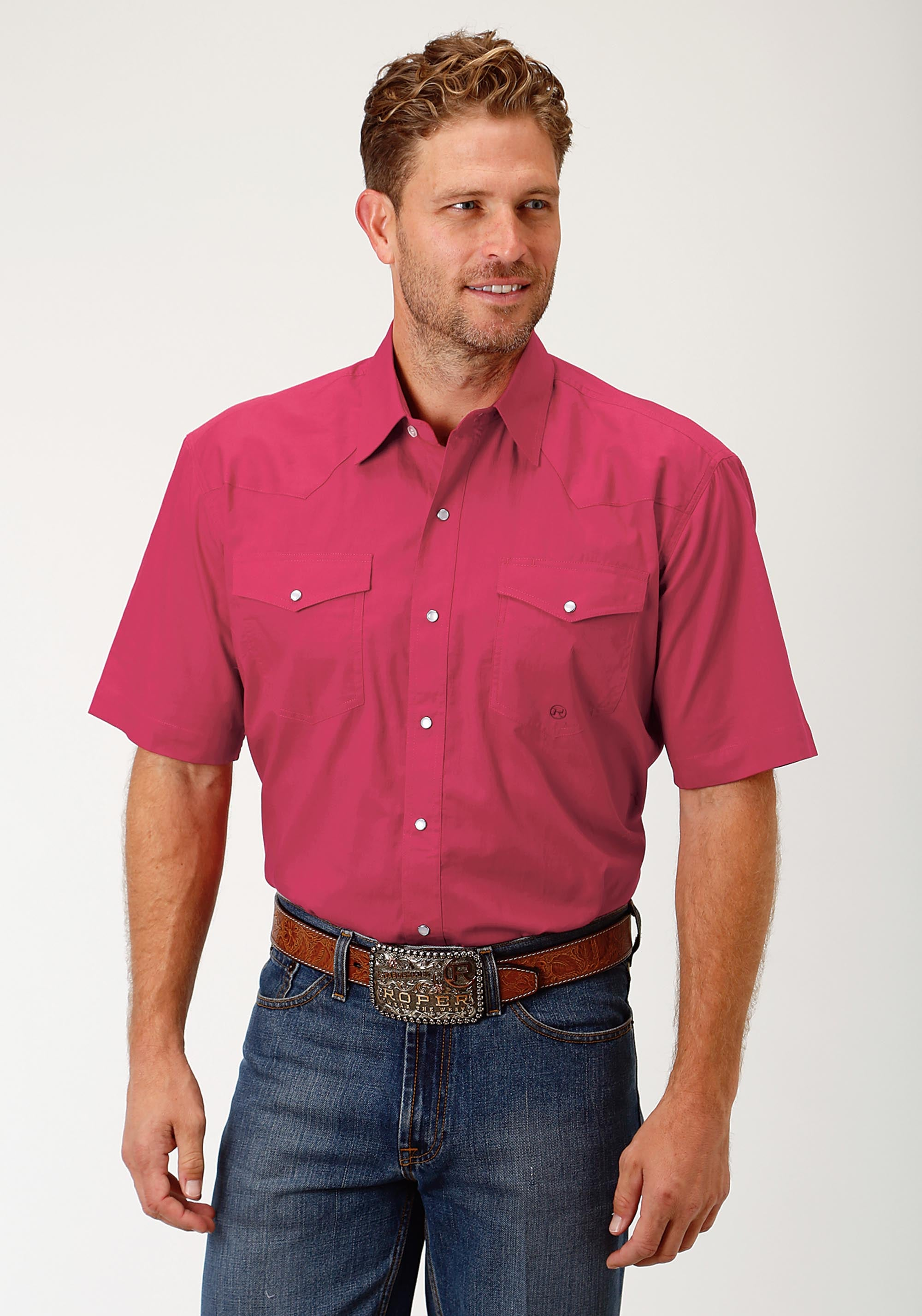 ROPER MENS RED 1691 SOLID POPLIN - RED MEN'S AMARILLO COLLECTION- ROUTE 66 SHORT SLEEVE SHIRT