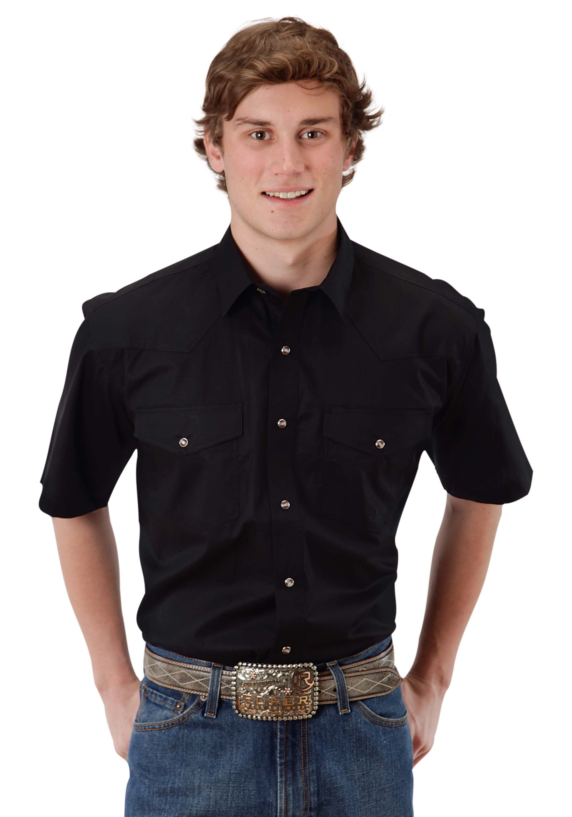 IN STOCK MENS BLACK SOLID POPLIN 1PT BACK YOKE VERGTD IN STOCK INDIVIDUAL