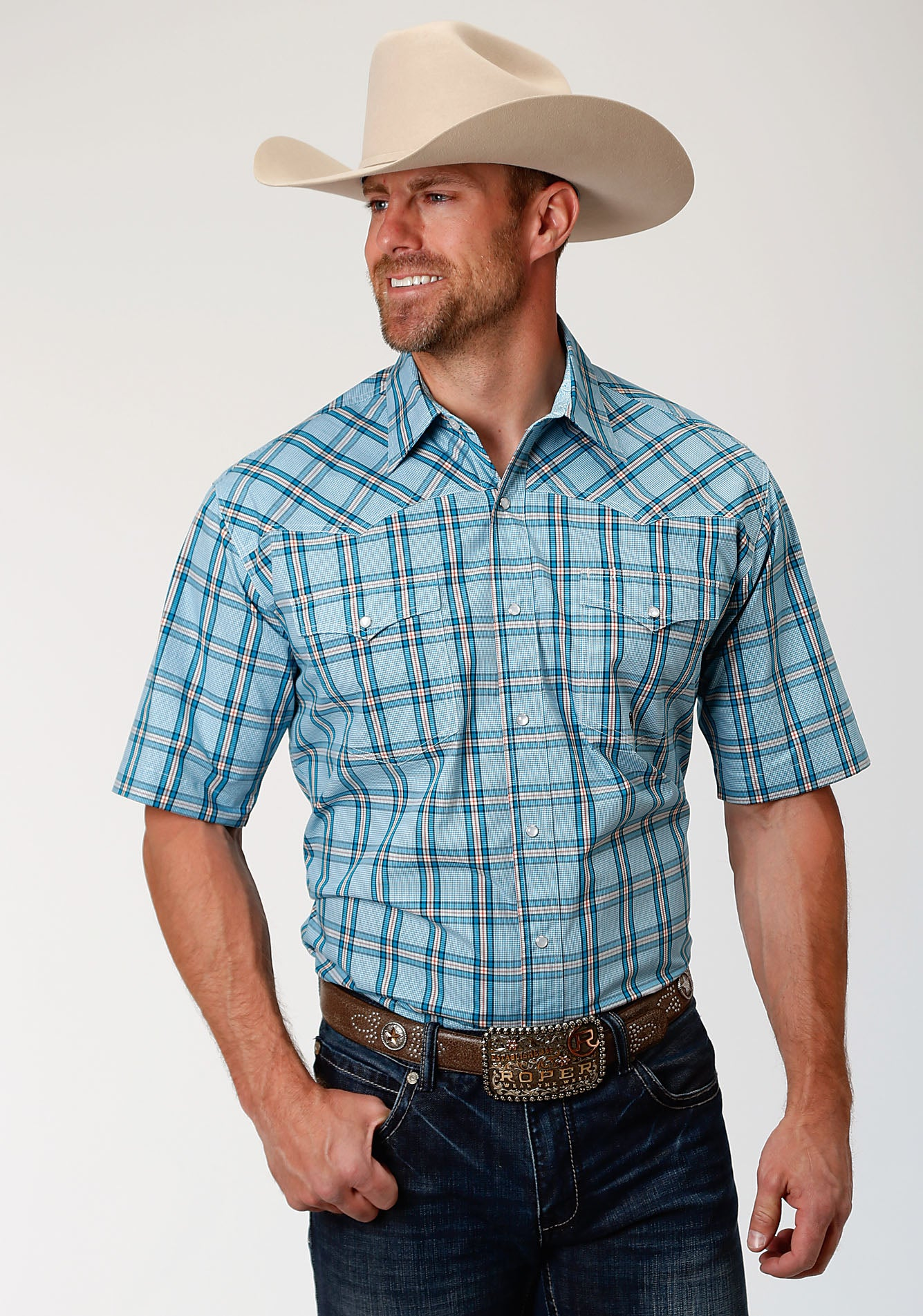 ROPER MENS BLUE 00017 COLD CREEK PLAID MEN'S AMARILLO COLLECTION- OASIS SHORT SLEEVE