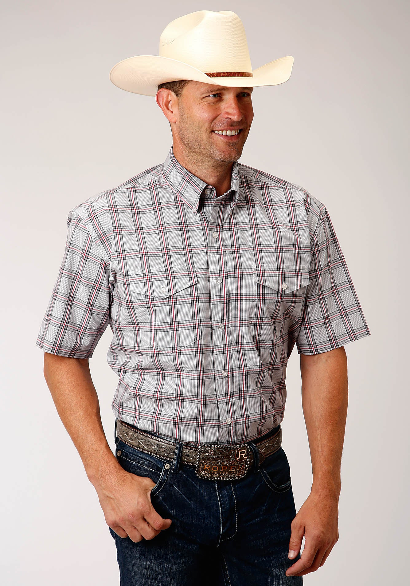 ROPER MENS GREY 00159 COAL CREEK CHECK MEN'S AMARILLO COLLECTION - RED BARN SHORT SLEEVE