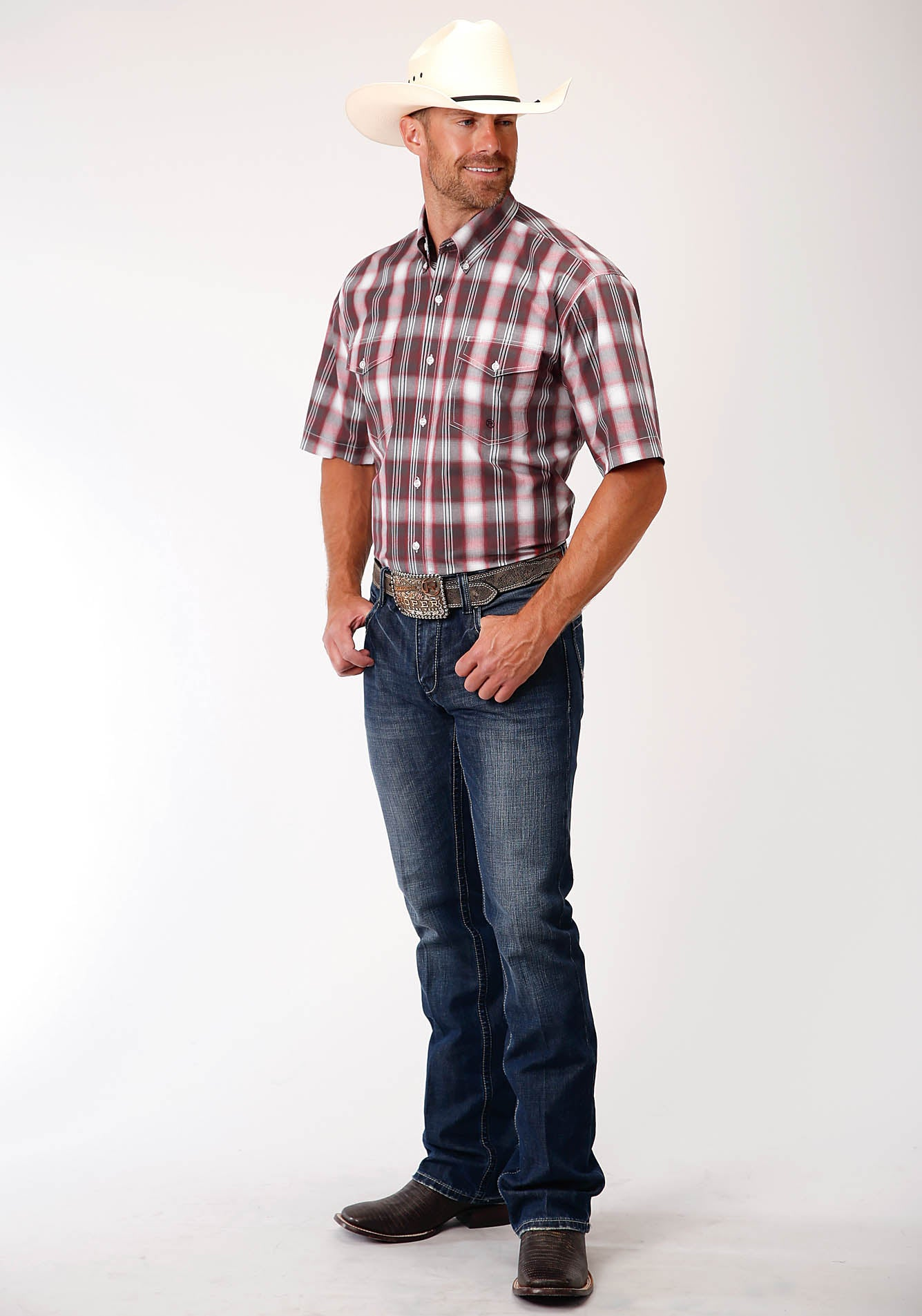 ROPER MENS RED 00161 BARN PLAID MEN'S AMARILLO COLLECTION - RED BARN SHORT SLEEVE