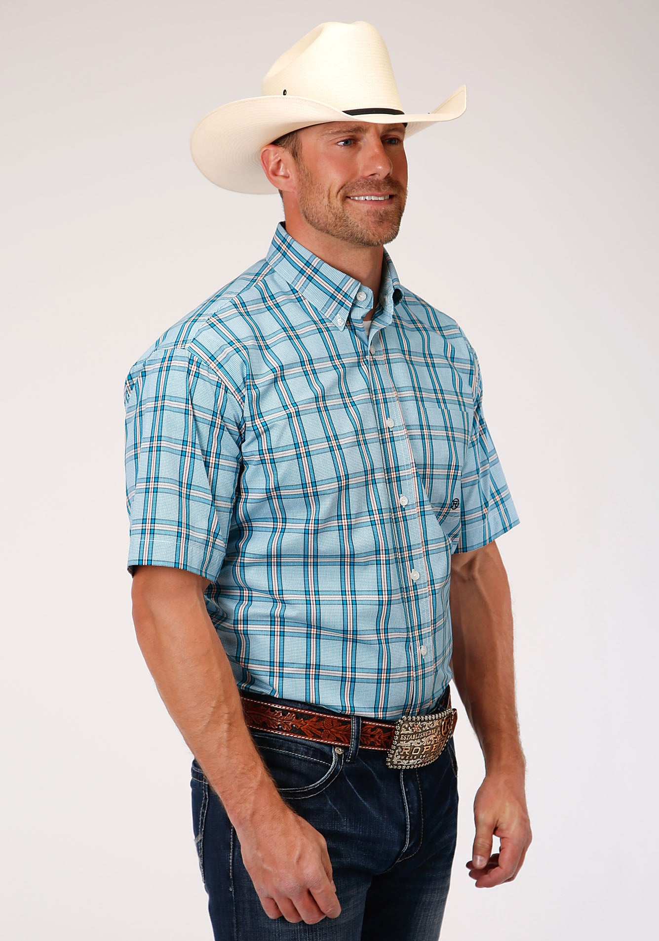 AMARILLO MENS BLUE 00017 COLD CREEK PLAID OASIS GROUP