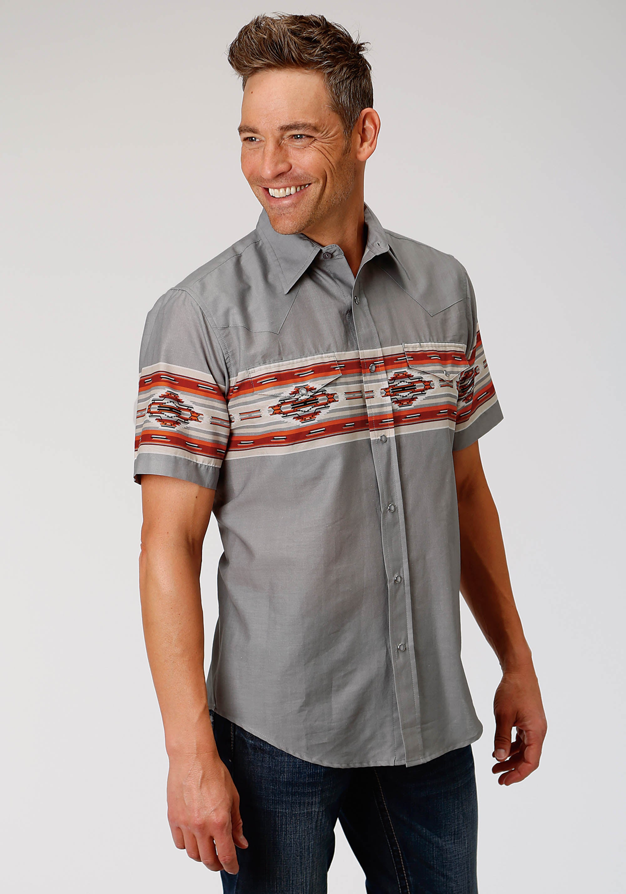 ROPER MENS GREY 3875 SERAPE BORDER WEST MADE COLLECTION SHORT SLEEVE