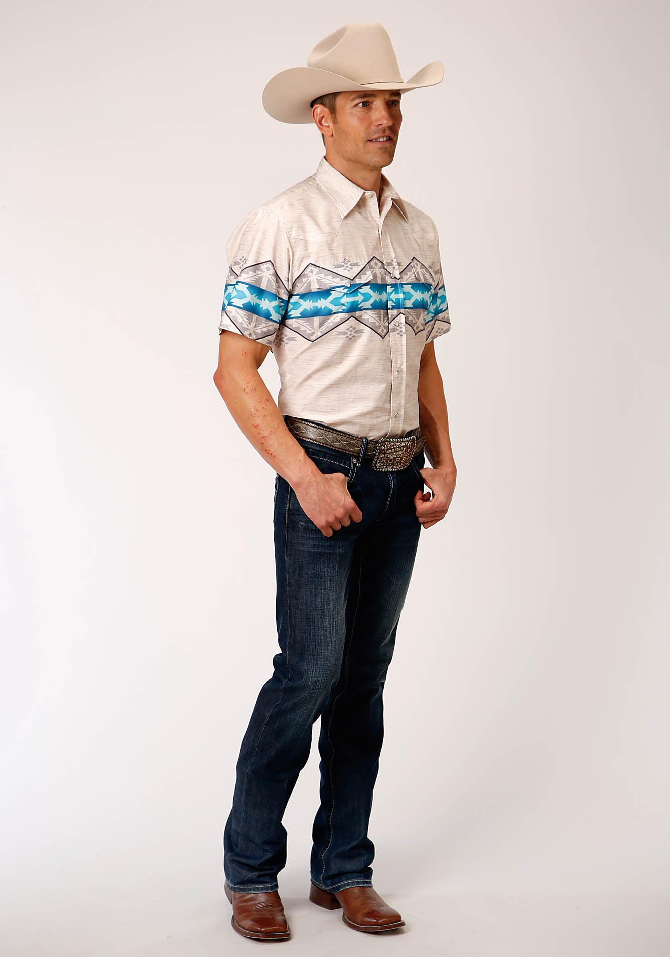 ROPER MENS WHITE 00189 AZTEC BORDER WEST MADE COLLECTION SHORT SLEEVE