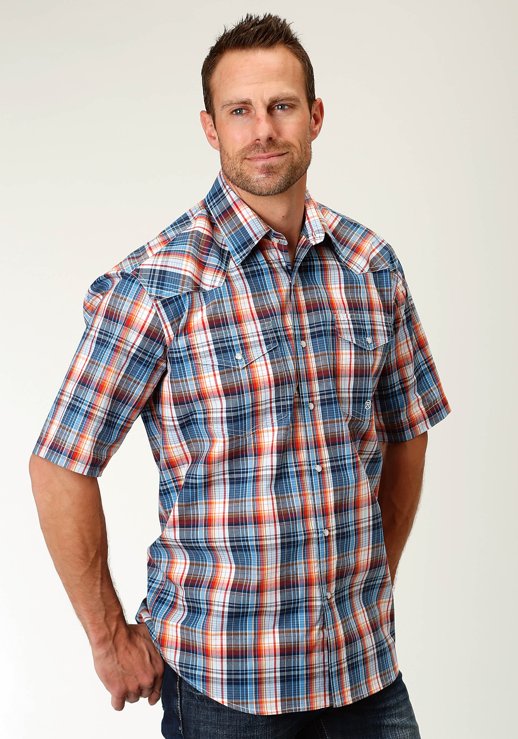 ROPER MENS BLUE 2453 DUNGEREE PLAID MEN'S AMARILLO COLLECTION- INDIGO BLUES SHORT SLEEVE