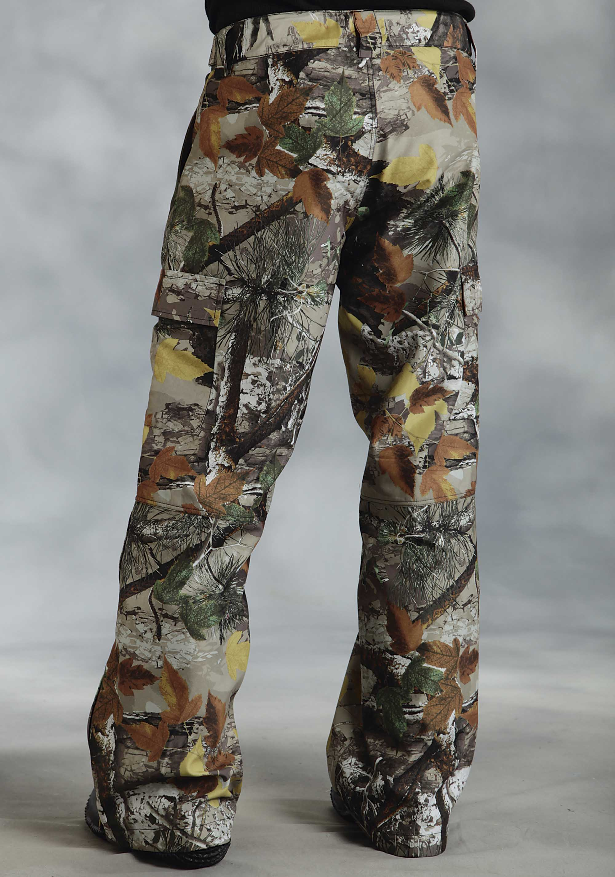 ROPER MENS BROWN 9864 CAMO BONDED WITH BLACK ROPER OUTERWEAR- MEN'S PANTS