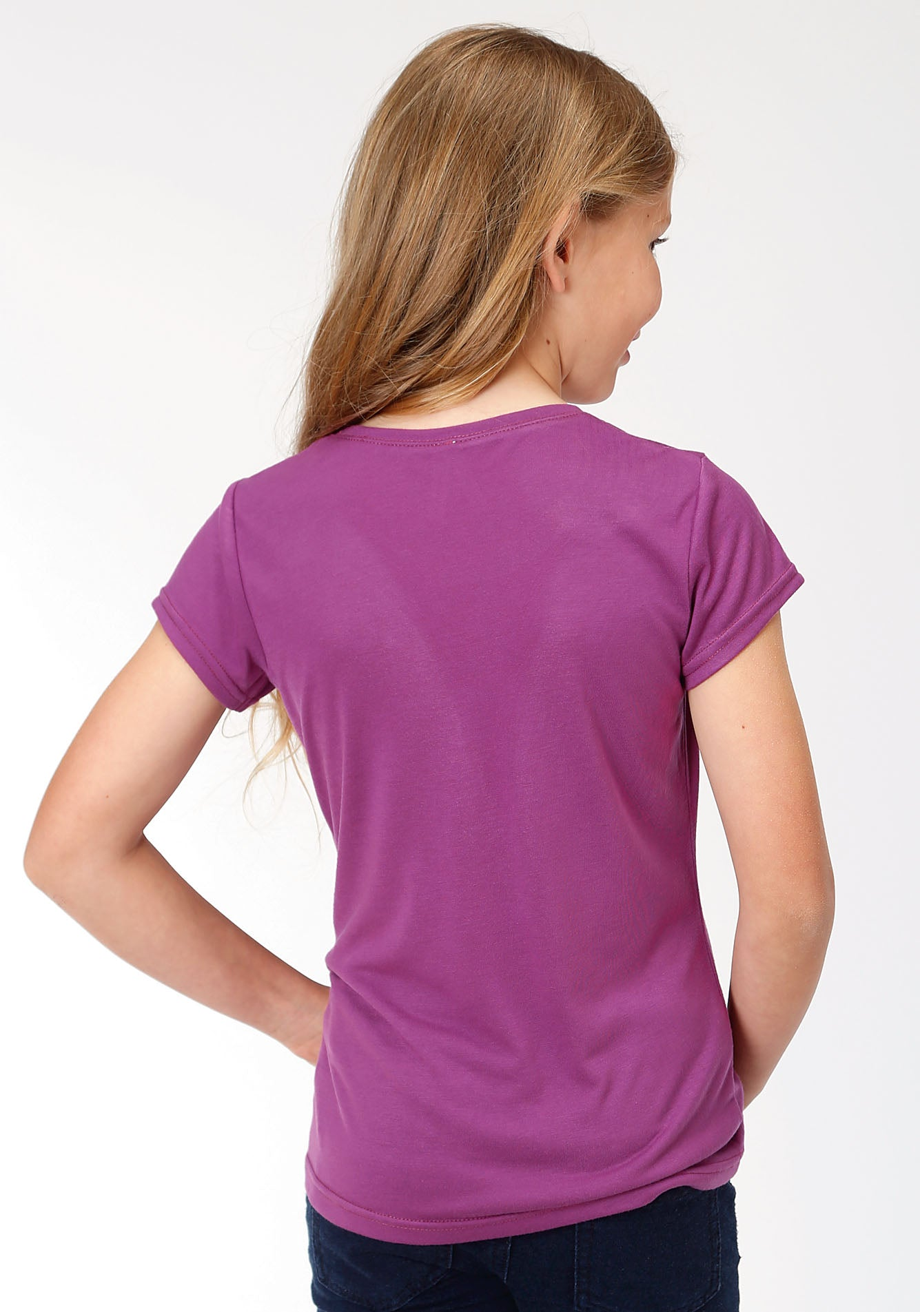 ROPER GIRLS PURPLE 00134 POLY RAYON JERSEY TEE FIVE STAR GIRLS SHORT SLEEVE