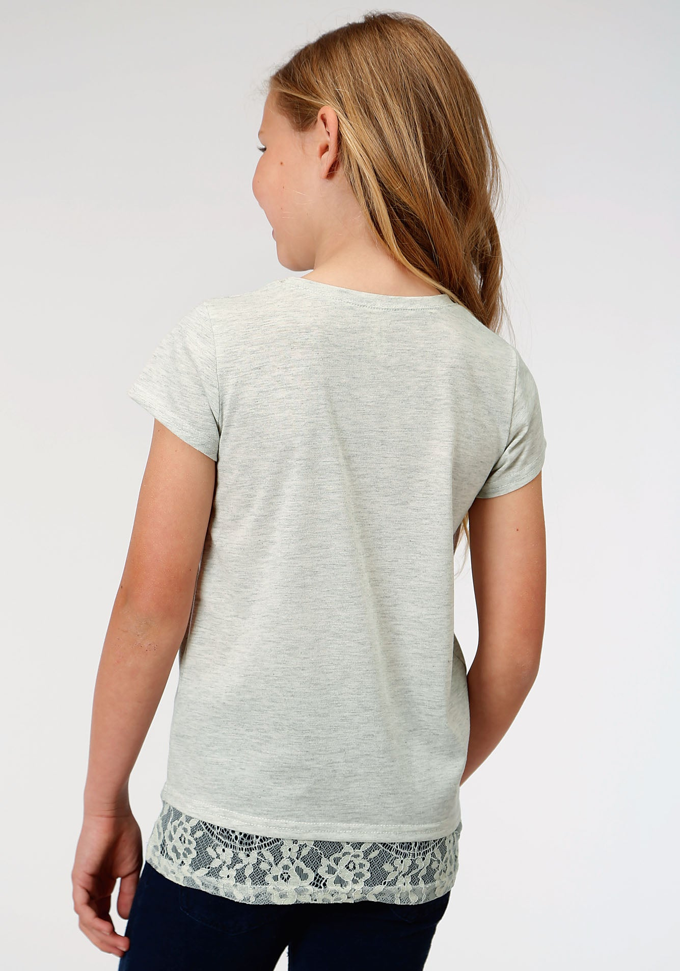 ROPER GIRLS GREY 00134 POLY RAYON JERSEY TEE FIVE STAR GIRLS SHORT SLEEVE