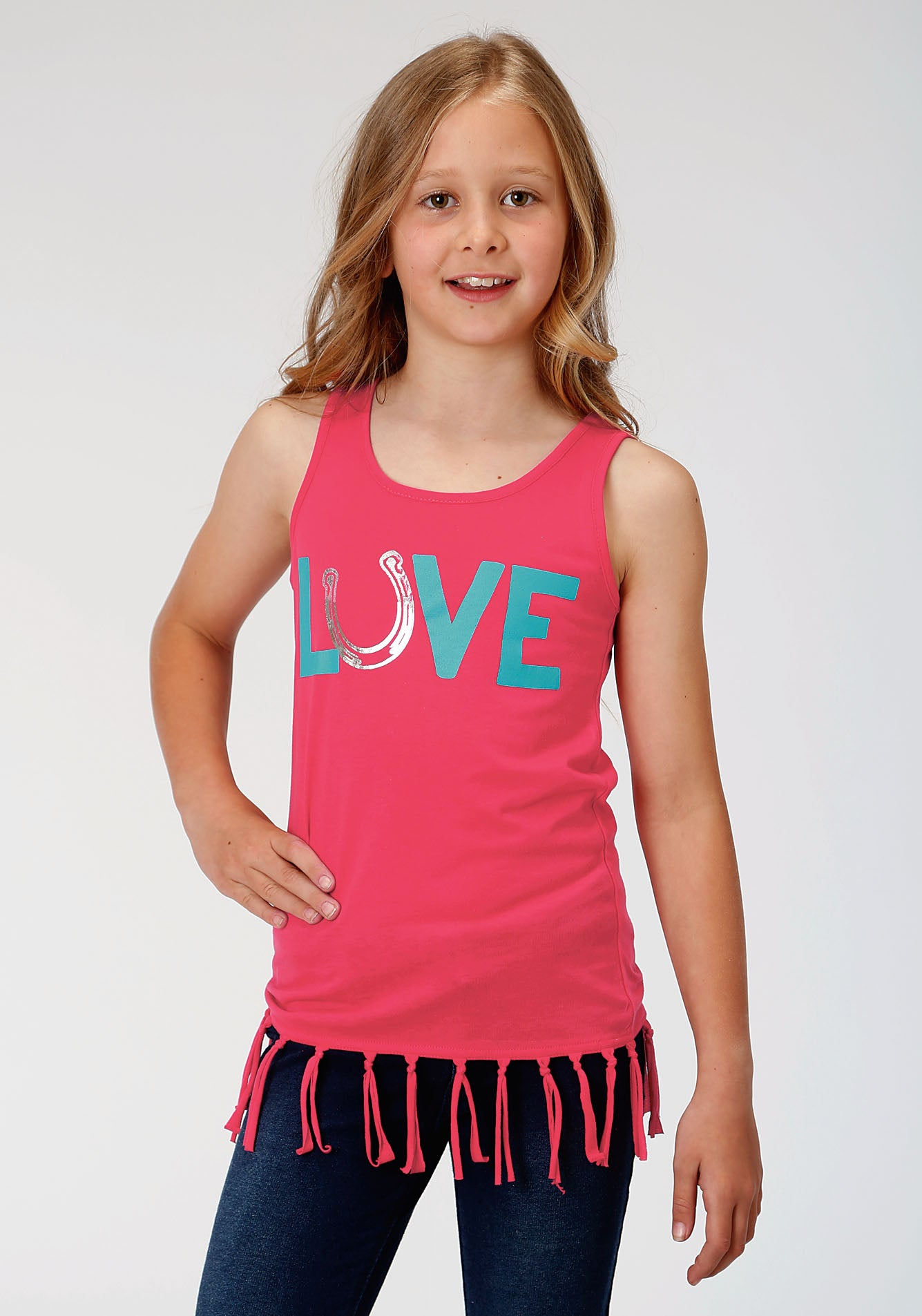 ROPER GIRLS RED 000133 POLY RAYON JERSEY TANK FIVE STAR GIRLS SLEEVELESS