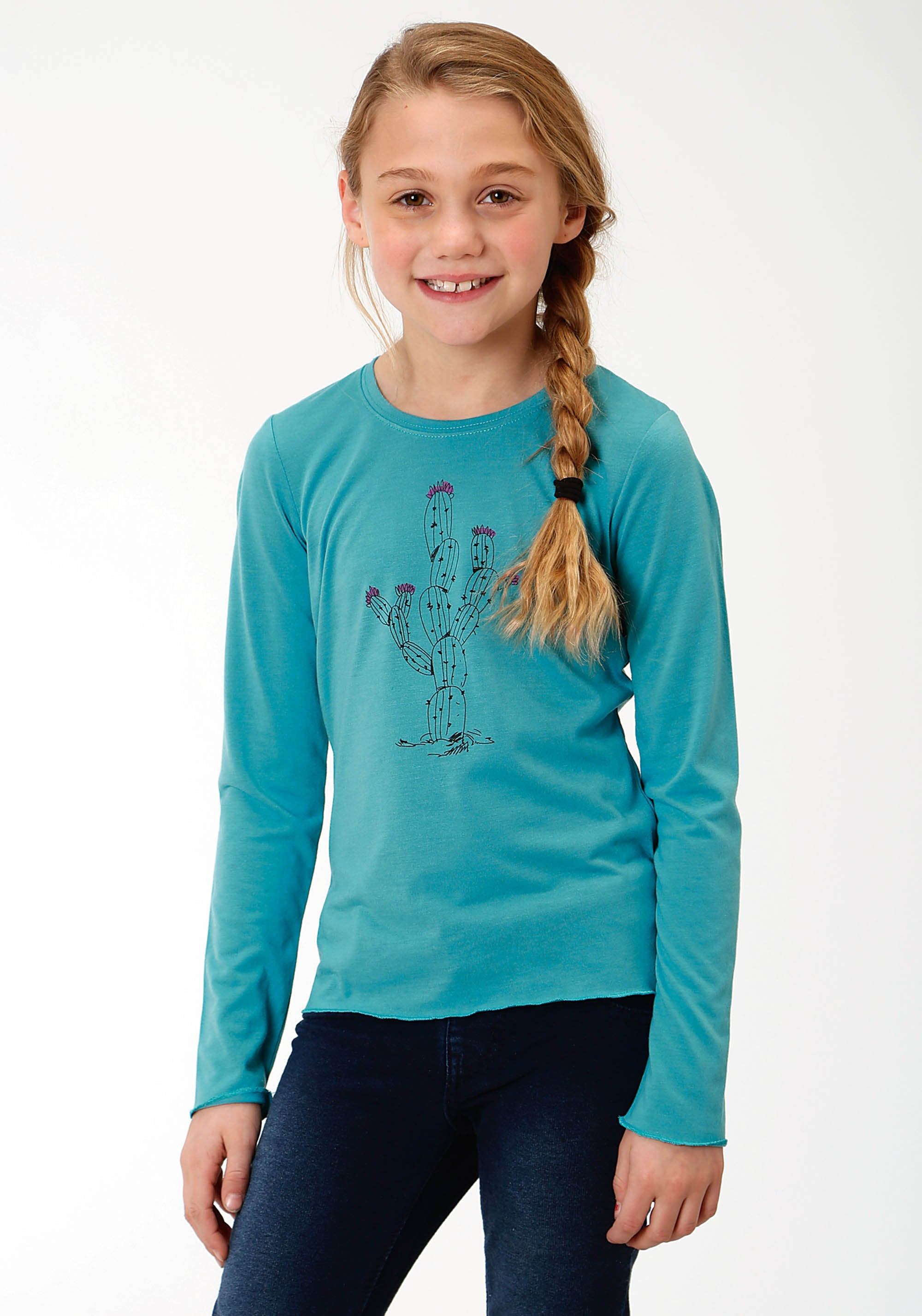 ROPER GIRLS BLUE 0490 P/R JERSEY GIRLS LS CRE NECK TEE FIVE STAR GIRLS LONG SLEEVE