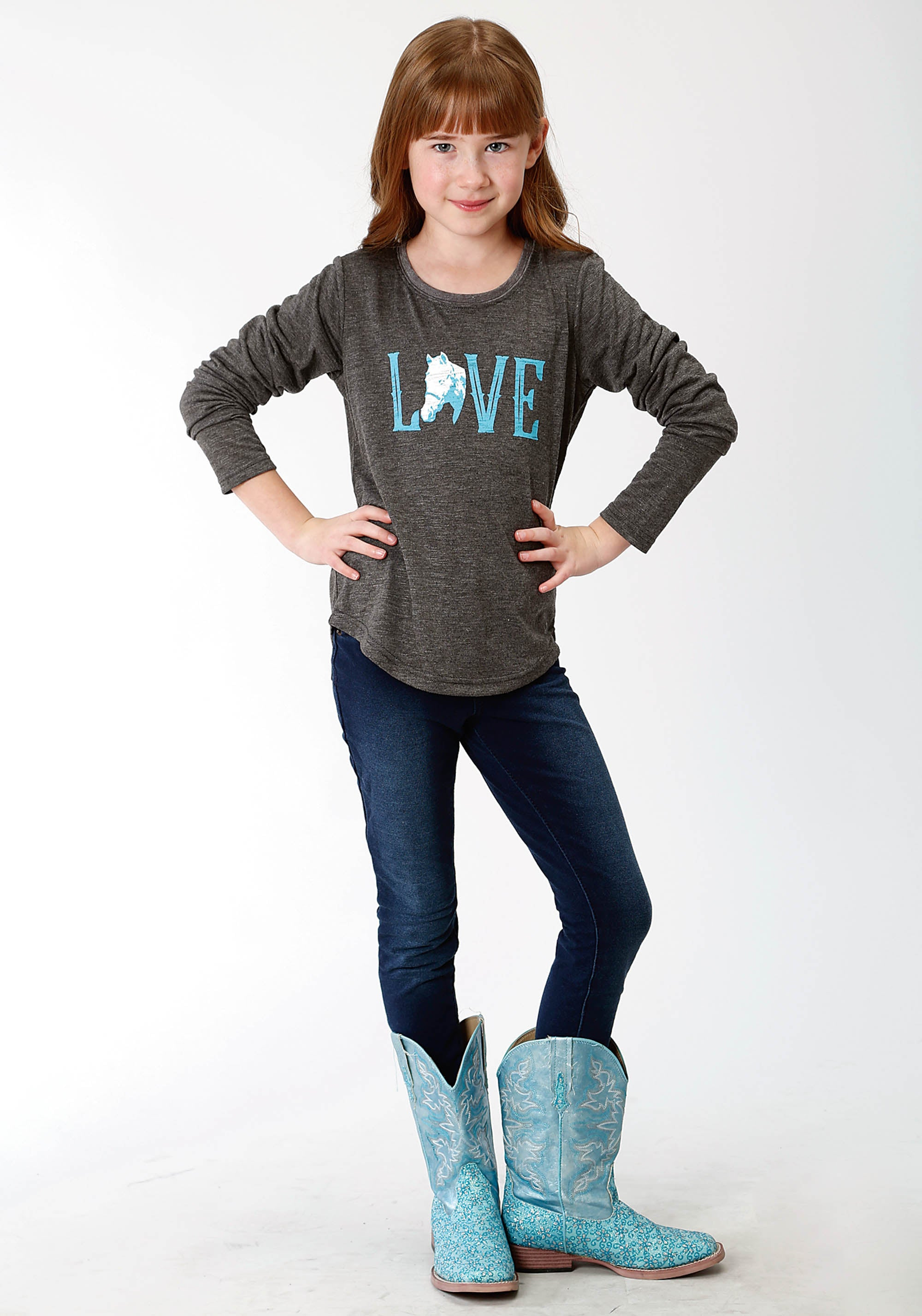 ROPER GIRLS GREY 0489 P/R SLUB JERSEY GIRLS LS TEE FIVE STAR GIRLS LONG SLEEVE
