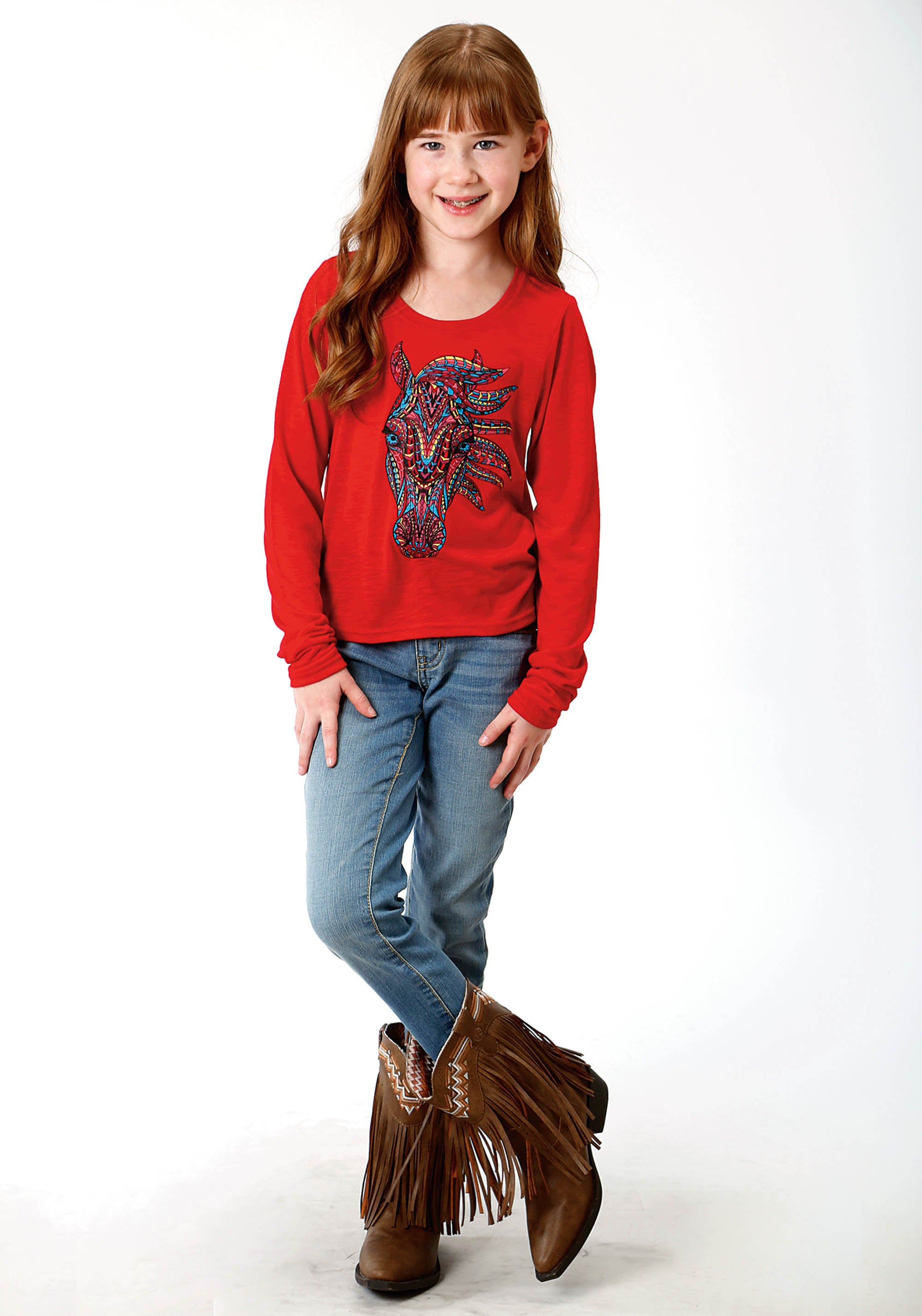 ROPER GIRLS RED 0489 P/R SLUB JERSEY GIRLS LS TEE FIVE STAR GIRLS LONG SLEEVE