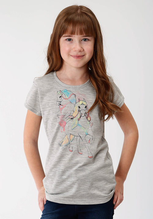 ROPER GIRLS GREY 0489 GIRLS SS CREW NECK TEE FIVE STAR GIRLS SHORT SLEEVE