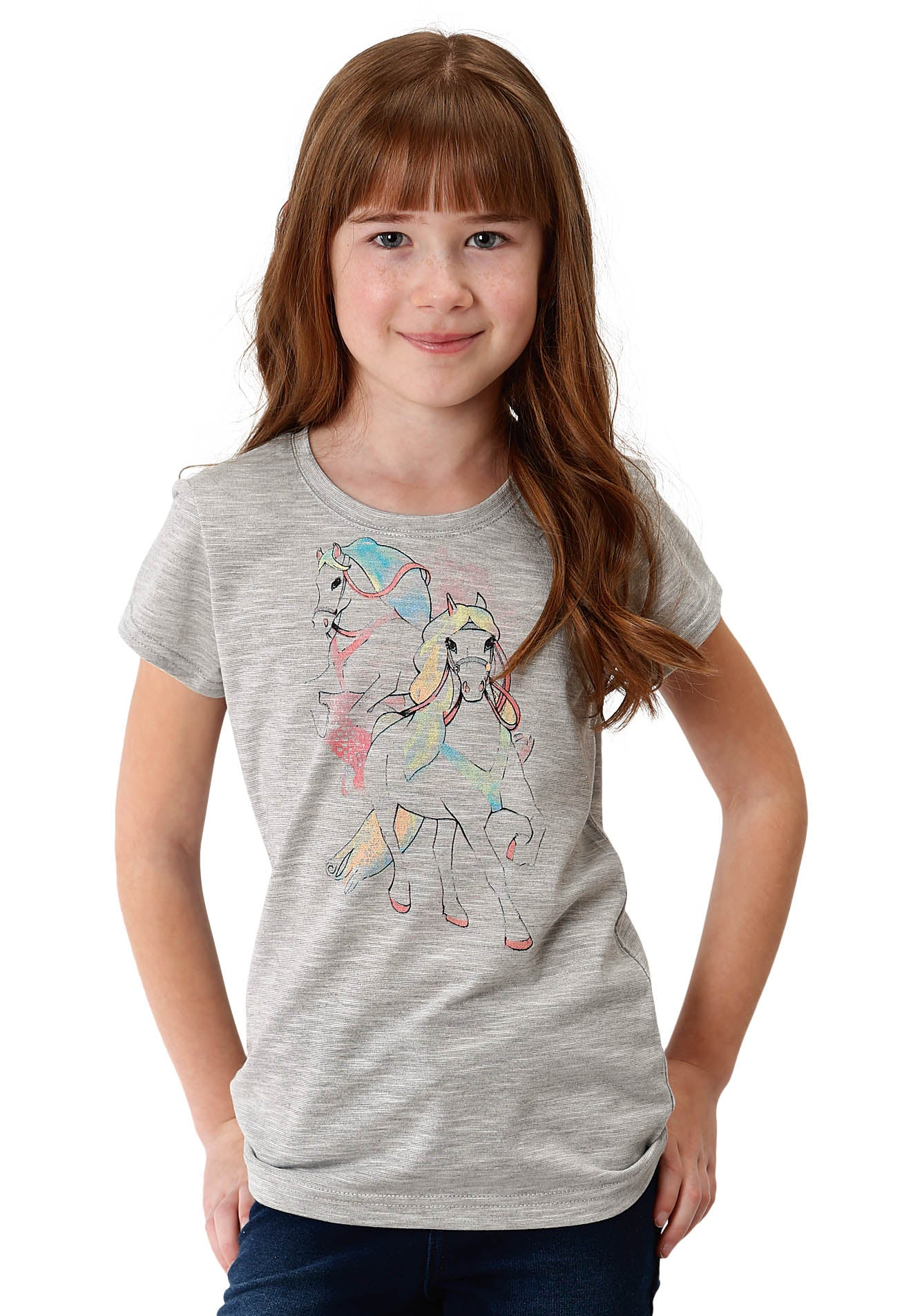 FIVE STAR GIRLS GREY 0489 GIRLS SS CREW NECK TEE SEASON 3 GROUP 1