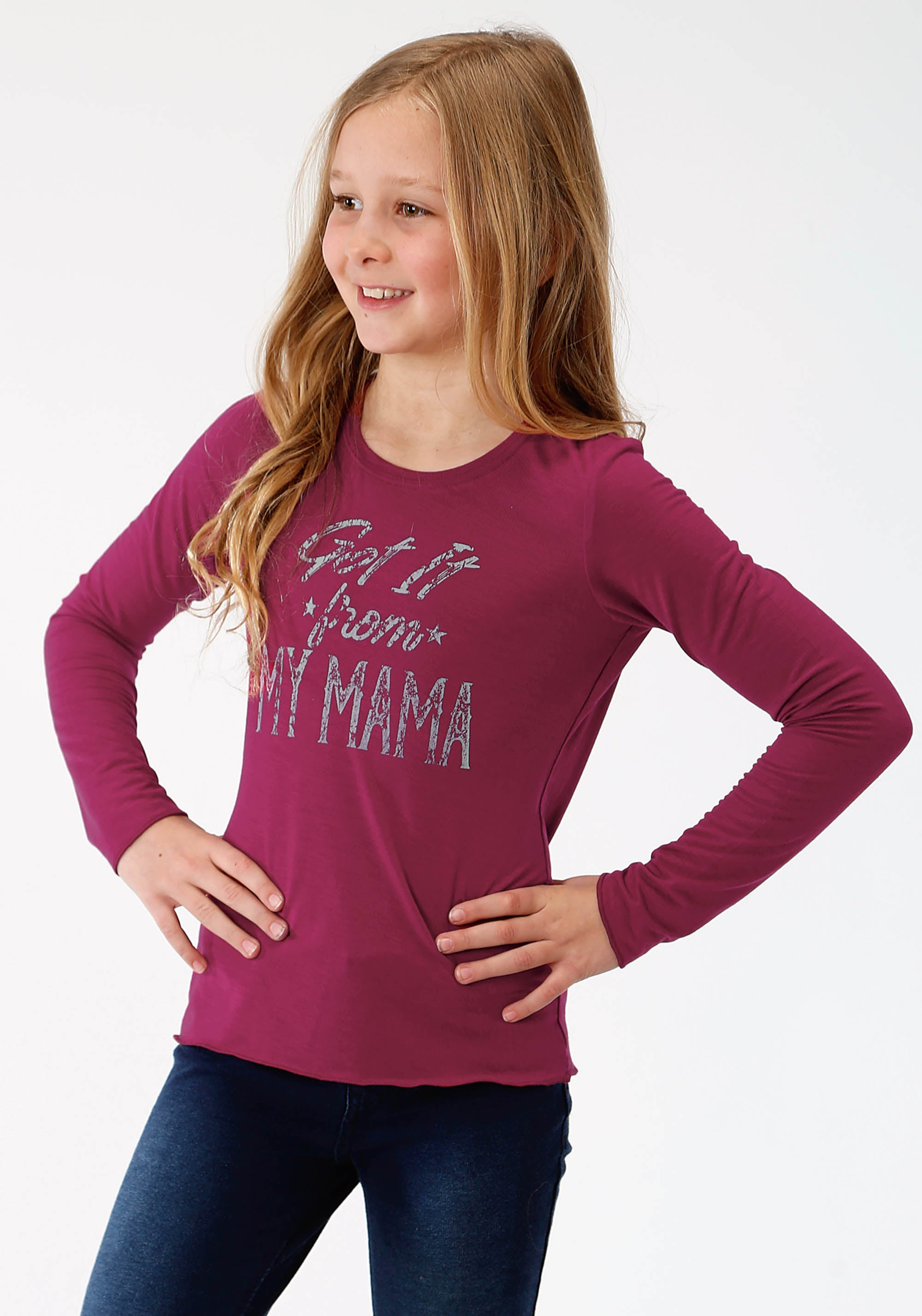 ROPER GIRLS RED 3675 POLY RAYON JERSEY SCOOP NECK TEE FIVE STAR GIRLS LONG SLEEVE