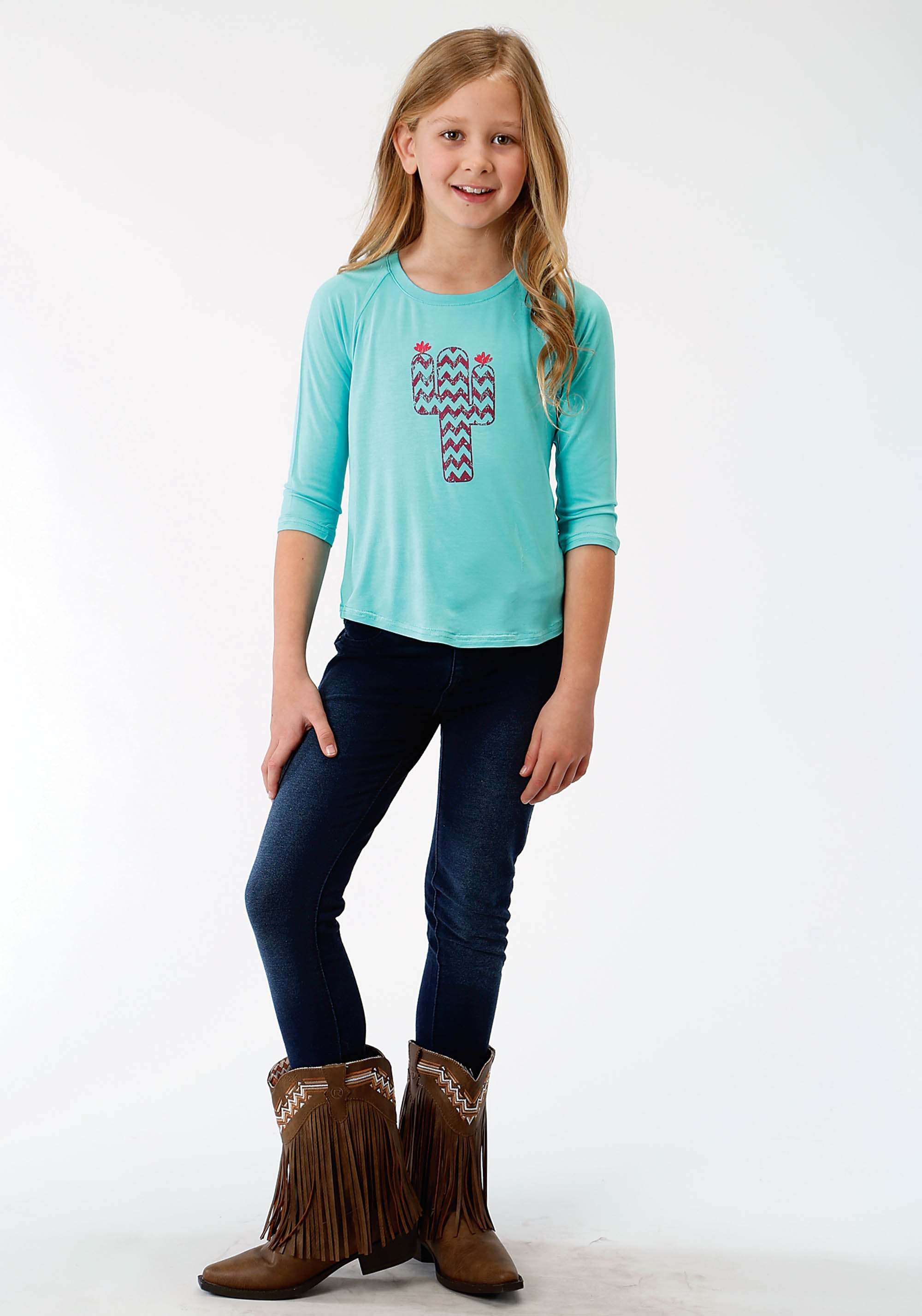 ROPER GIRLS BLUE 3675 POLY RAYON JERSEY SCOOP NECK TEE FIVE STAR GIRLS LONG SLEEVE