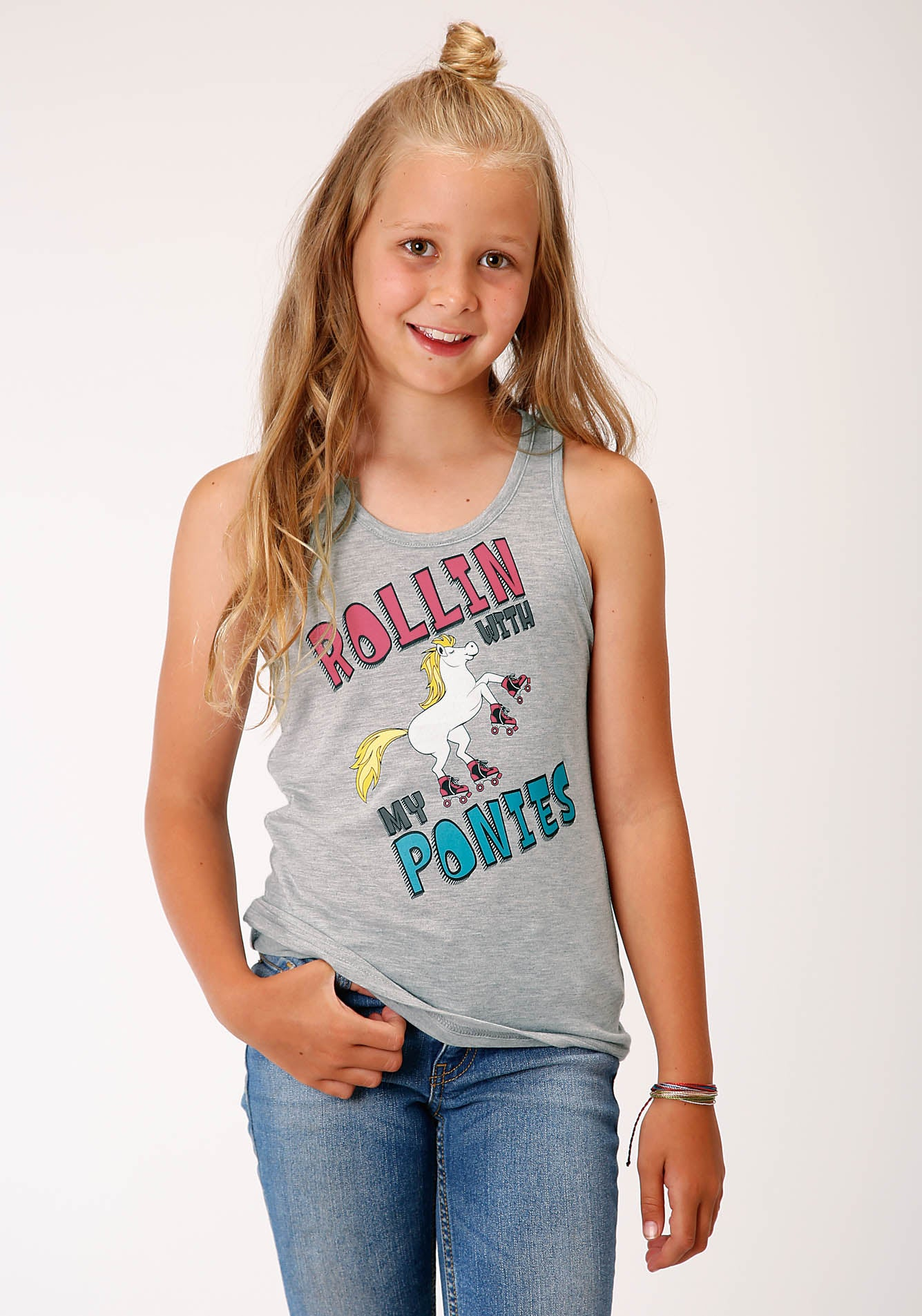 ROPER GIRLS GREY 00244 POLY RAYON RACERBACK TANK FIVE STAR GIRL'S SLEEVELESS