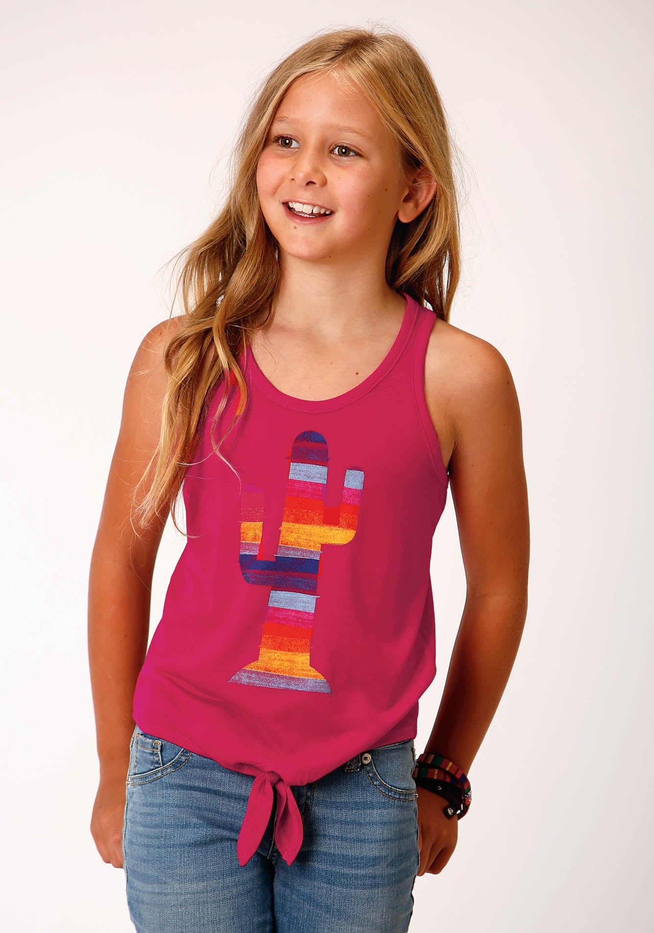 ROPER GIRLS PINK 00244 POLY RAYON RACERBACL TANK W/TIE FIVE STAR GIRL'S SLEEVELESS