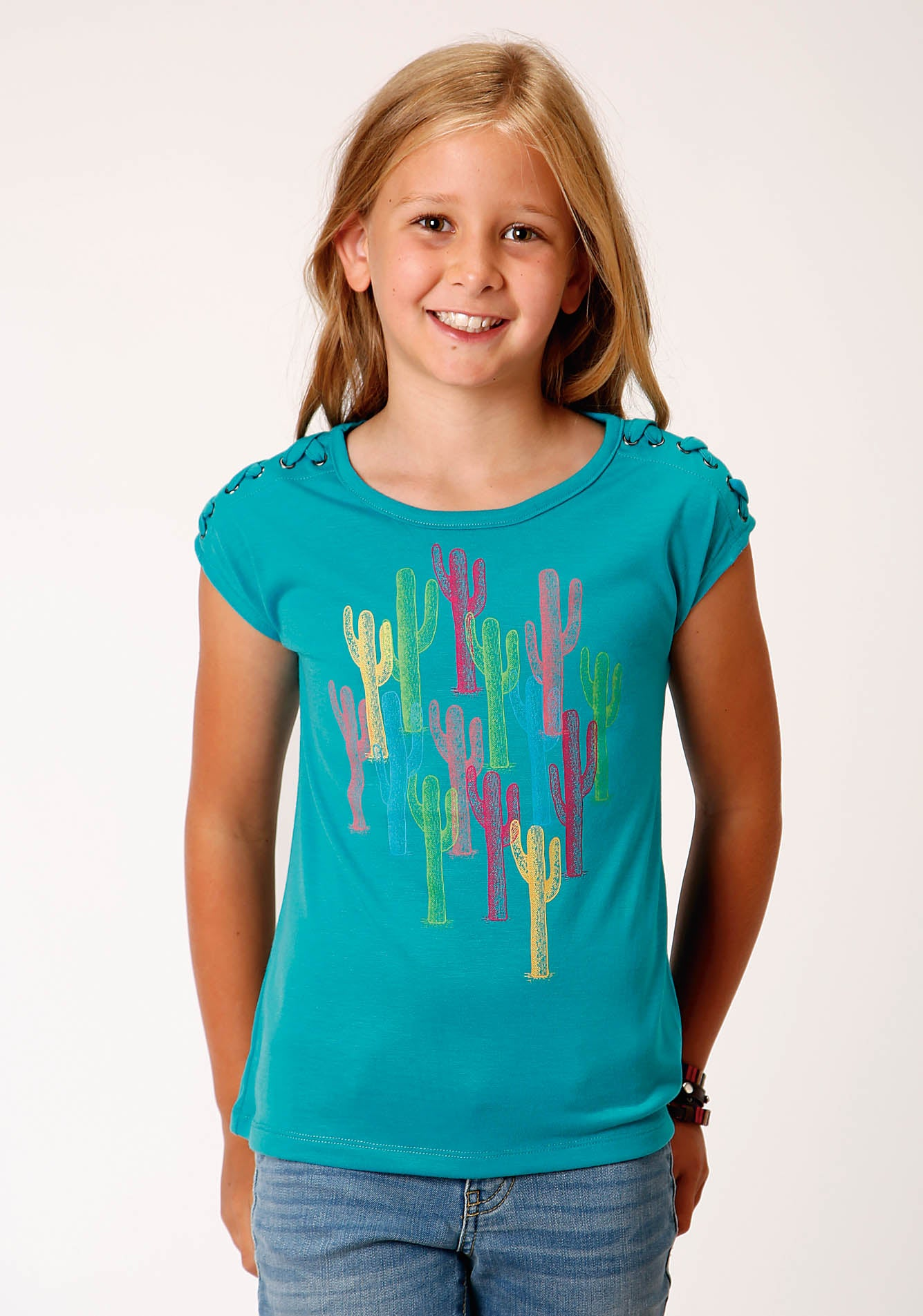 ROPER GIRLS BLUE 00244 POLY RAYON CAP SLV TEE FIVE STAR GIRL'S SHORT SLEEVE