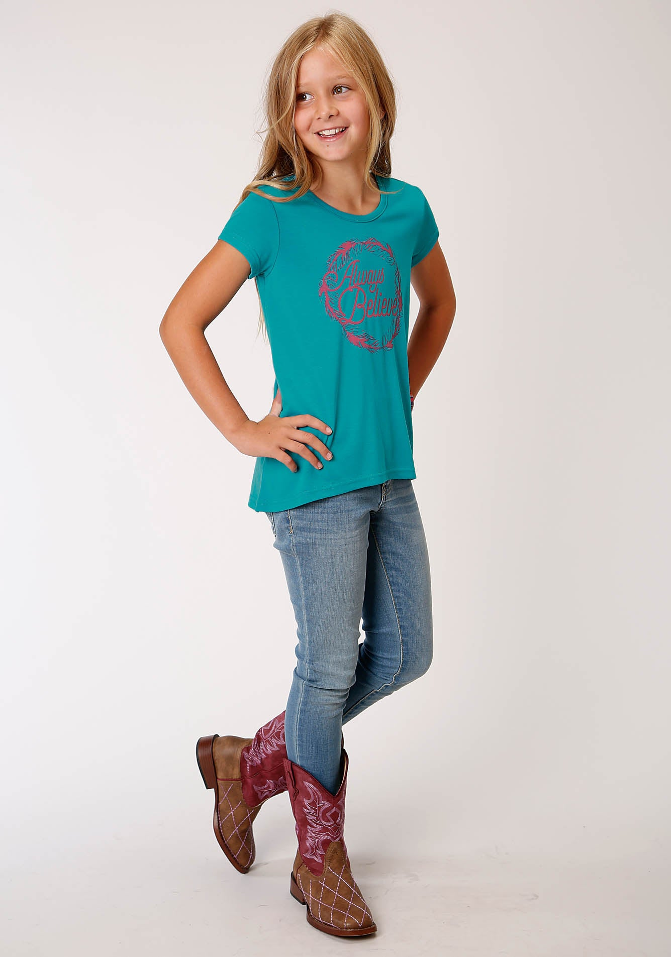 ROPER GIRLS BLUE 00244 POLY RAYON SWING TEE W/V BACK FIVE STAR GIRL'S SHORT SLEEVE