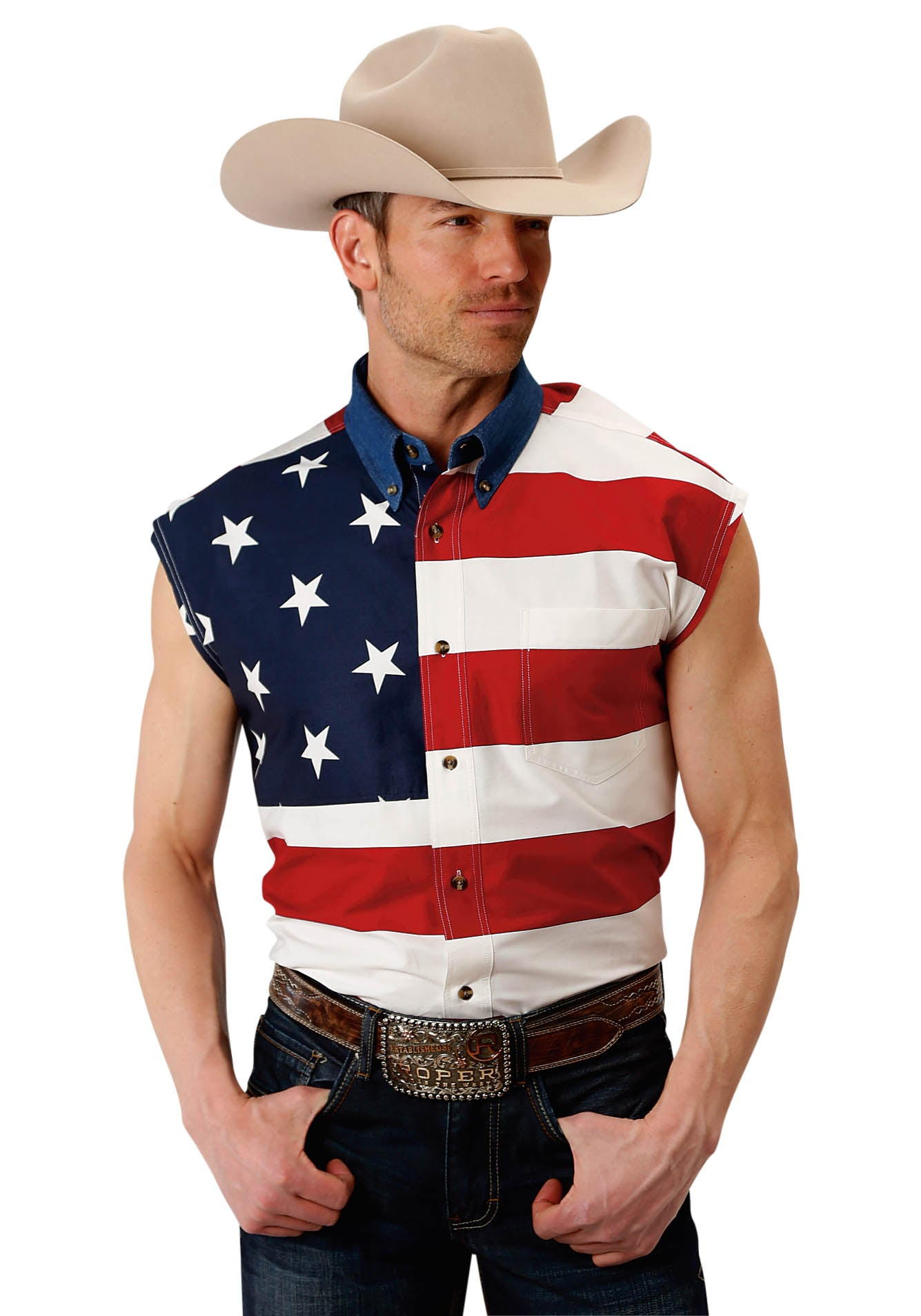 AMERICANA MENS RED SLEEVELESS PRINTED AMERICAN FLAG SHIRT AMERICANA