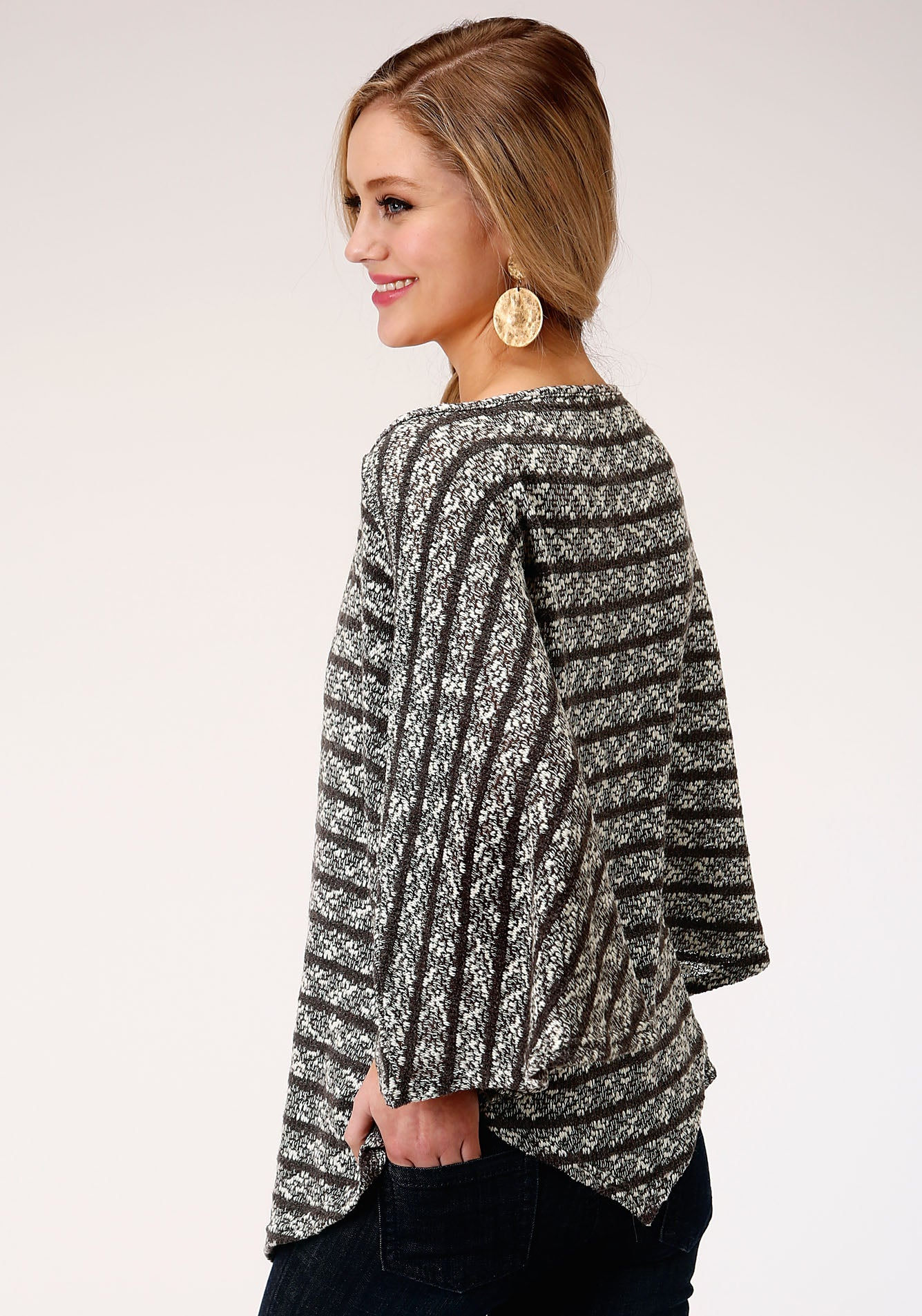 ROPER WOMENS GREY 00121 SWEATER KNIT ONE SHOULDER PONCHO FIVE STAR COLLECTION- SPRING I SWEATER