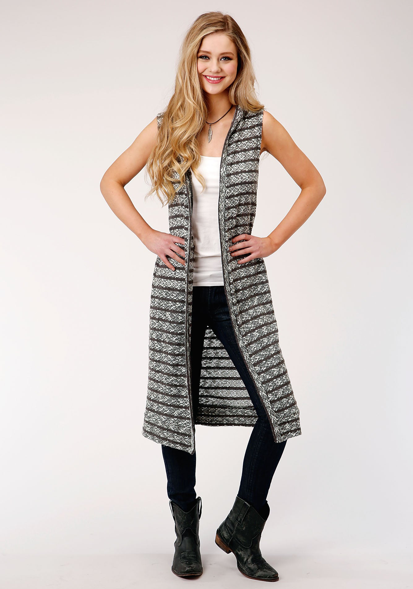 ROPER WOMENS GREY 00121 SWEATER KNIT SLVLS CARDIGAN FIVE STAR COLLECTION- SPRING I SWEATER