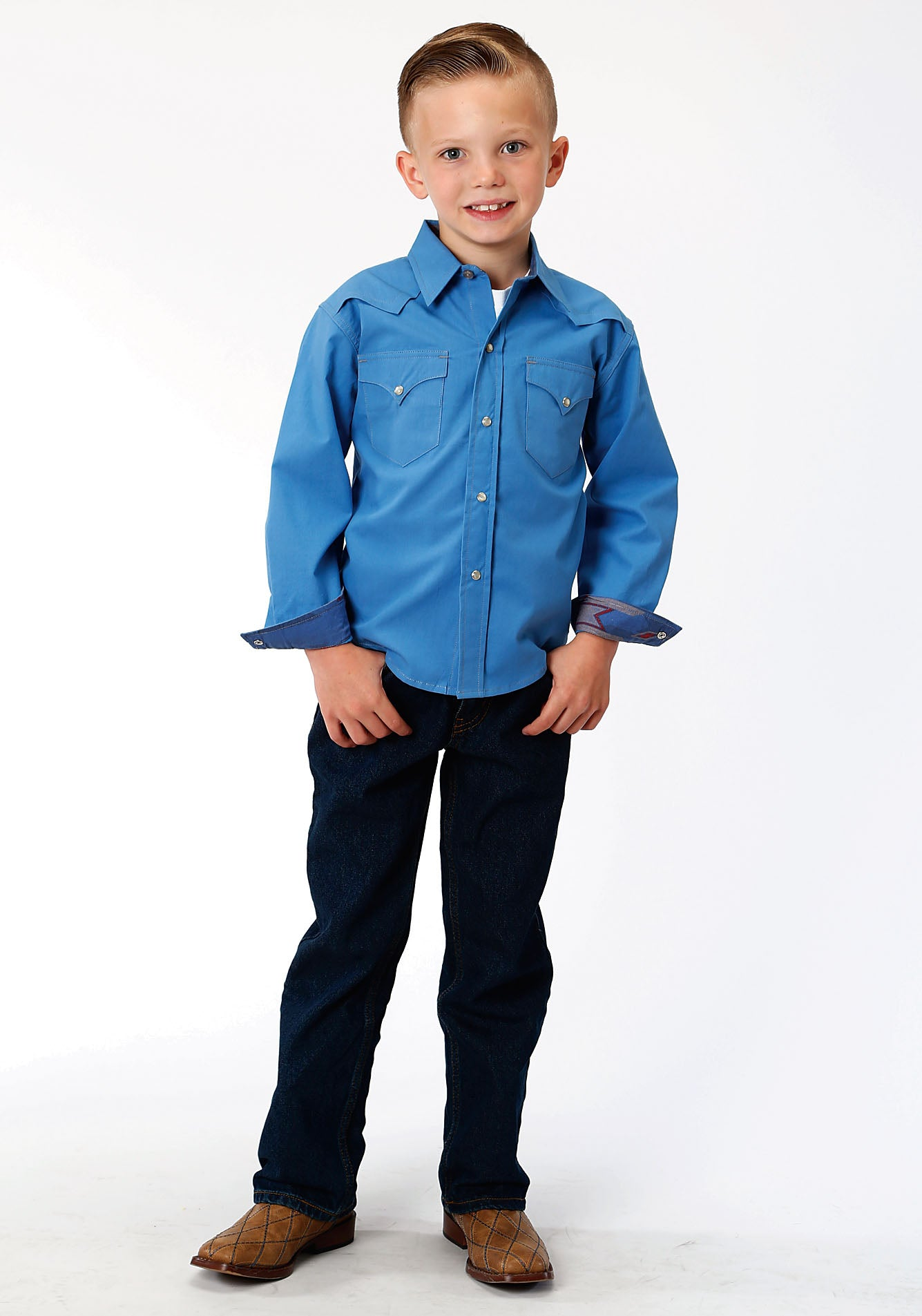 ROPER BOYS BLUE 00106 SOLID POPLIN - BLUE WEST MADE COLLECTION LONG SLEEVE