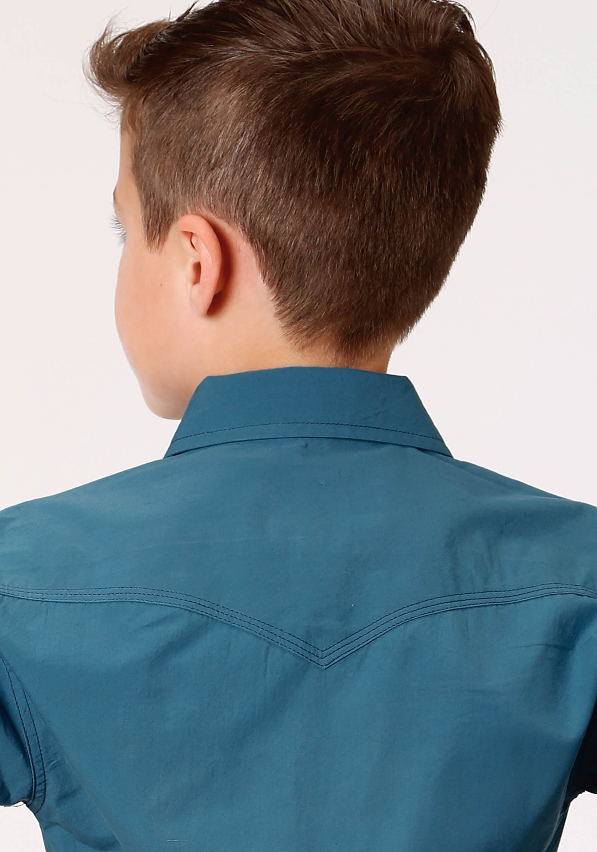ROPER BOYS GREEN 1418 SOLID POPLIN - TEAL WEST MADE COLLECTION LONG SLEEVE