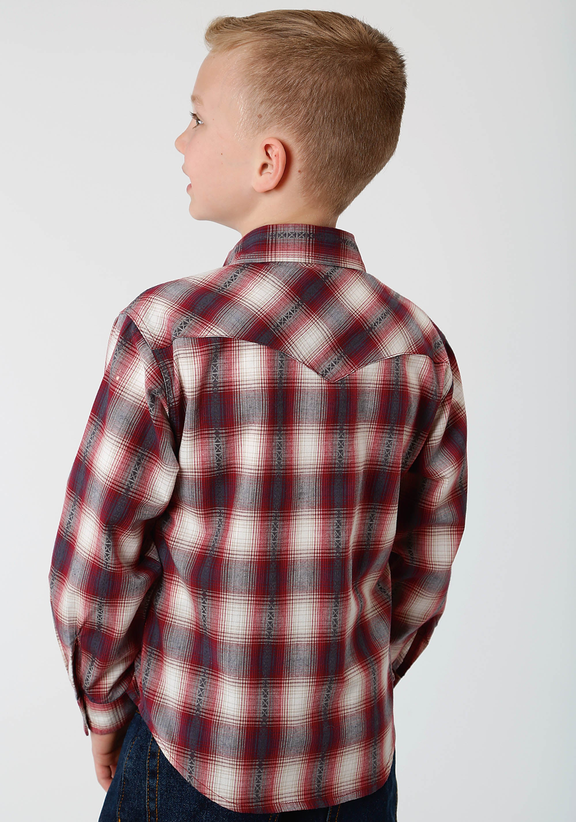 ROPER BOYS RED 0712 RED ROCK DOBBY WEST MADE COLLECTION LONG SLEEVE