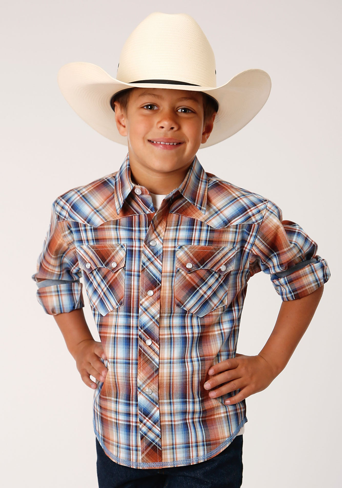 ROPER BOYS BROWN 00076 MEADOW PLAID WEST MADE COLLECTION LONG SLEEVE