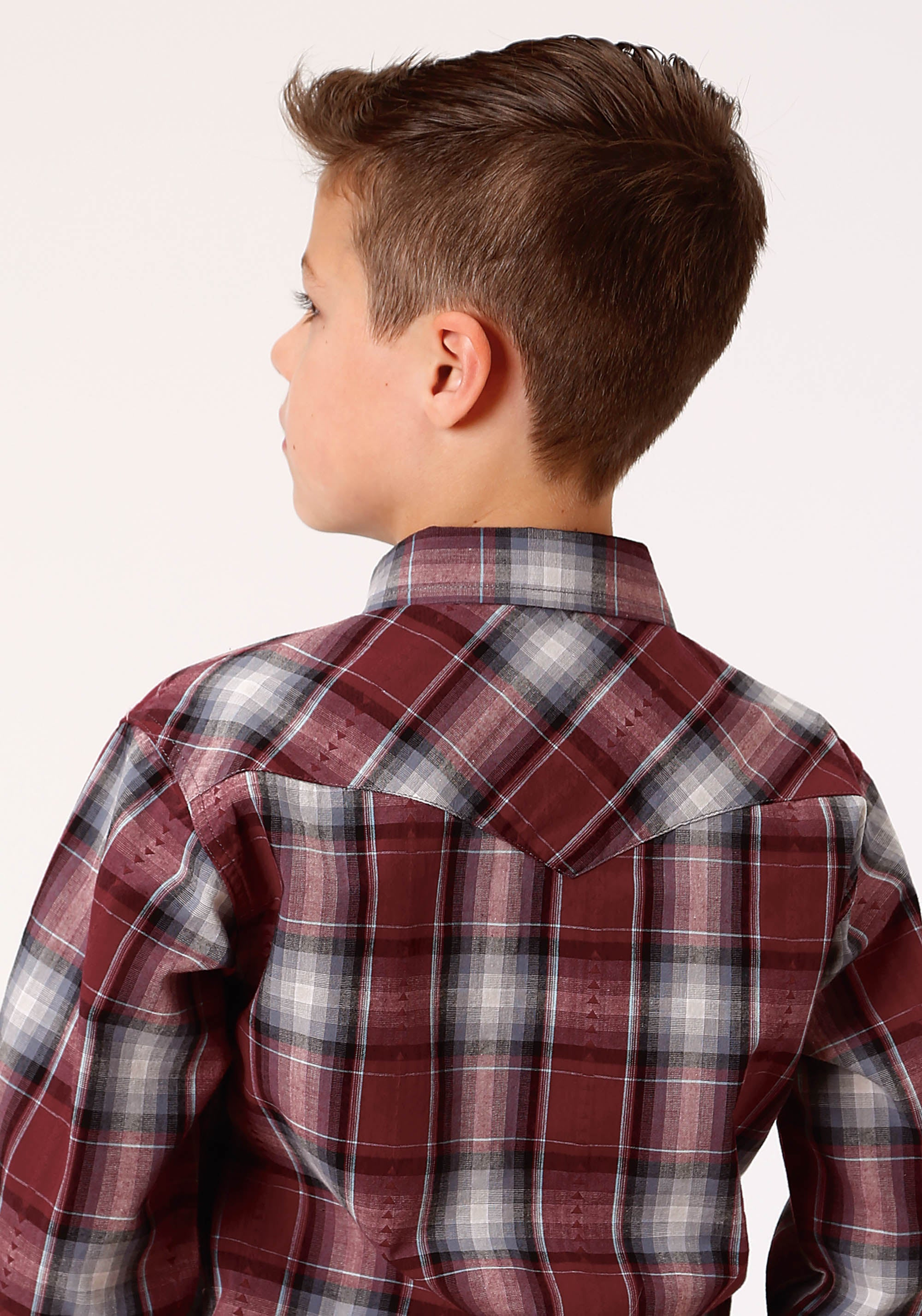 ROPER BOYS RED 0716 CARDINAL PLAID DOBBY WEST MADE COLLECTION LONG SLEEVE