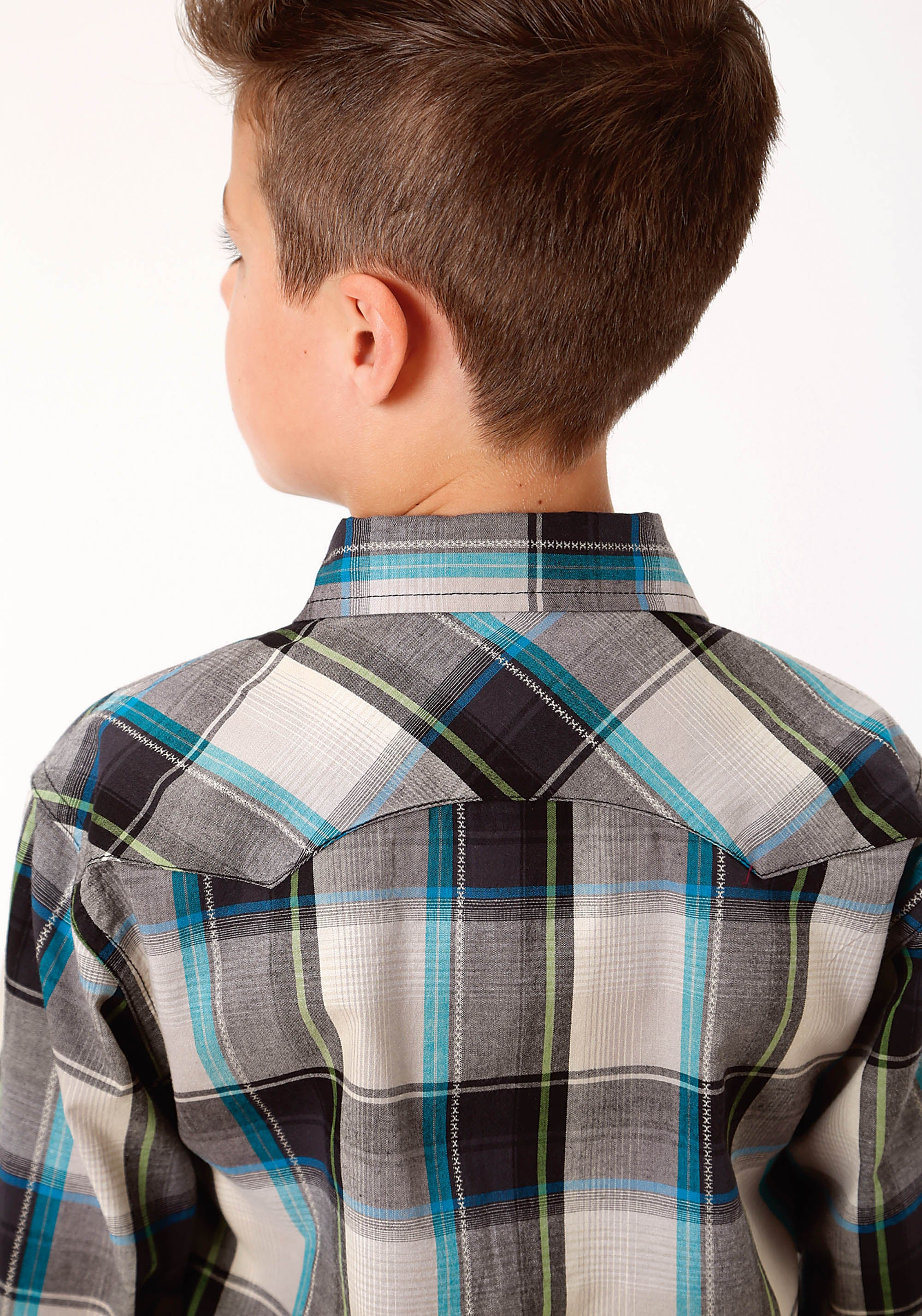 ROPER BOYS BLACK 0718 DOVE GREY PLAID WEST MADE COLLECTION LONG SLEEVE