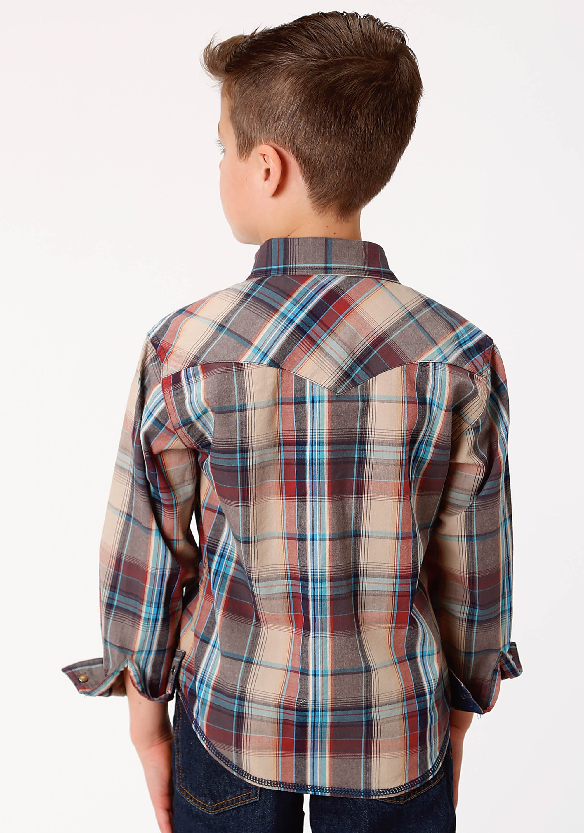 ROPER BOYS BROWN 0738 DUSK PLAID WEST MADE COLLECTION LONG SLEEVE