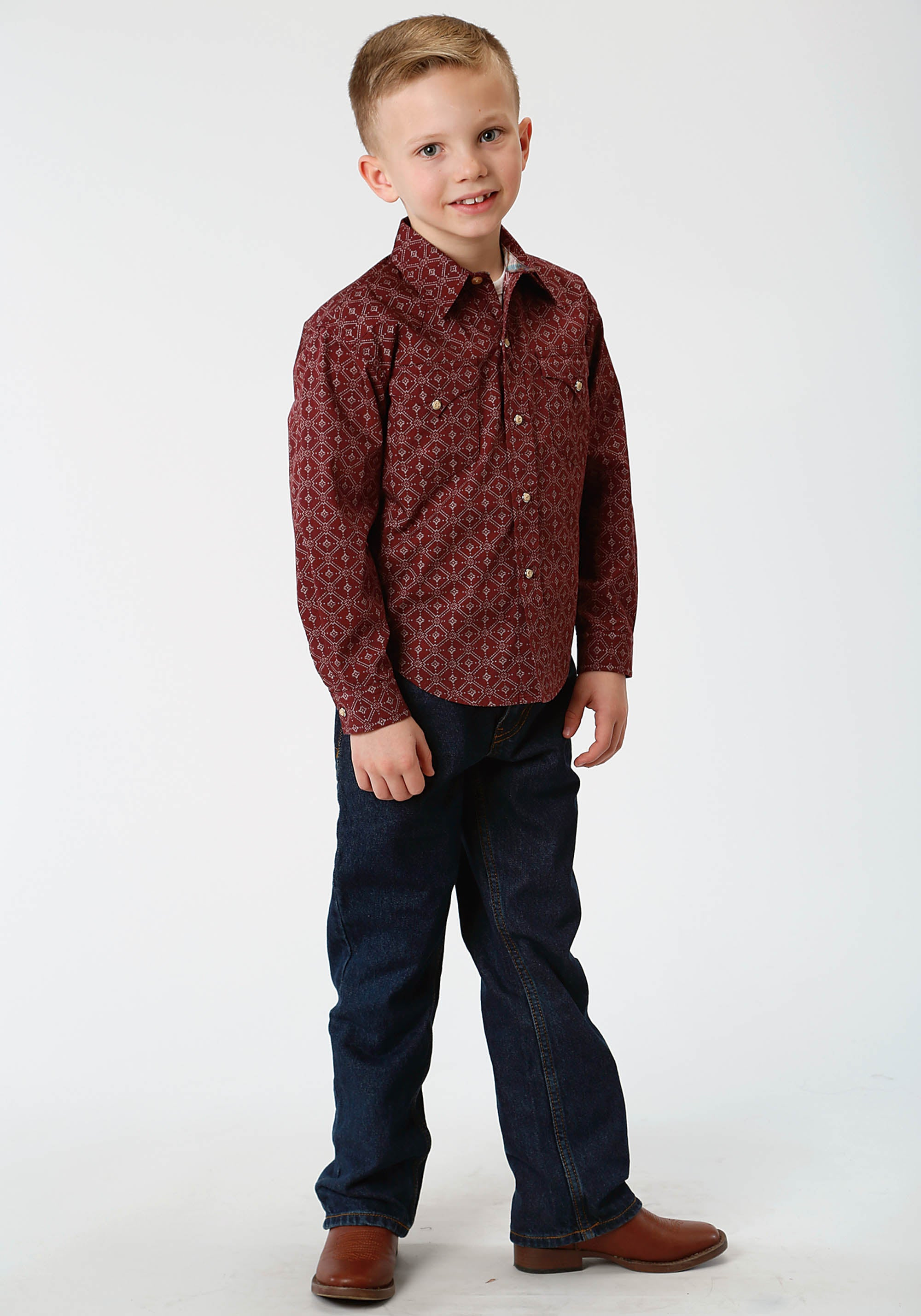 ROPER BOYS RED 787 LATTICE SHADOW WEST MADE COLLECTION LONG SLEEVE
