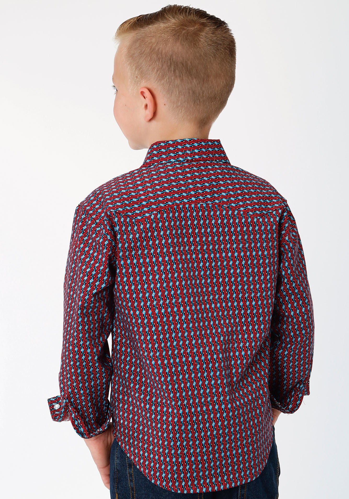 ROPER BOYS RED 00078 OCTO GEO WEST MADE COLLECTION LONG SLEEVE