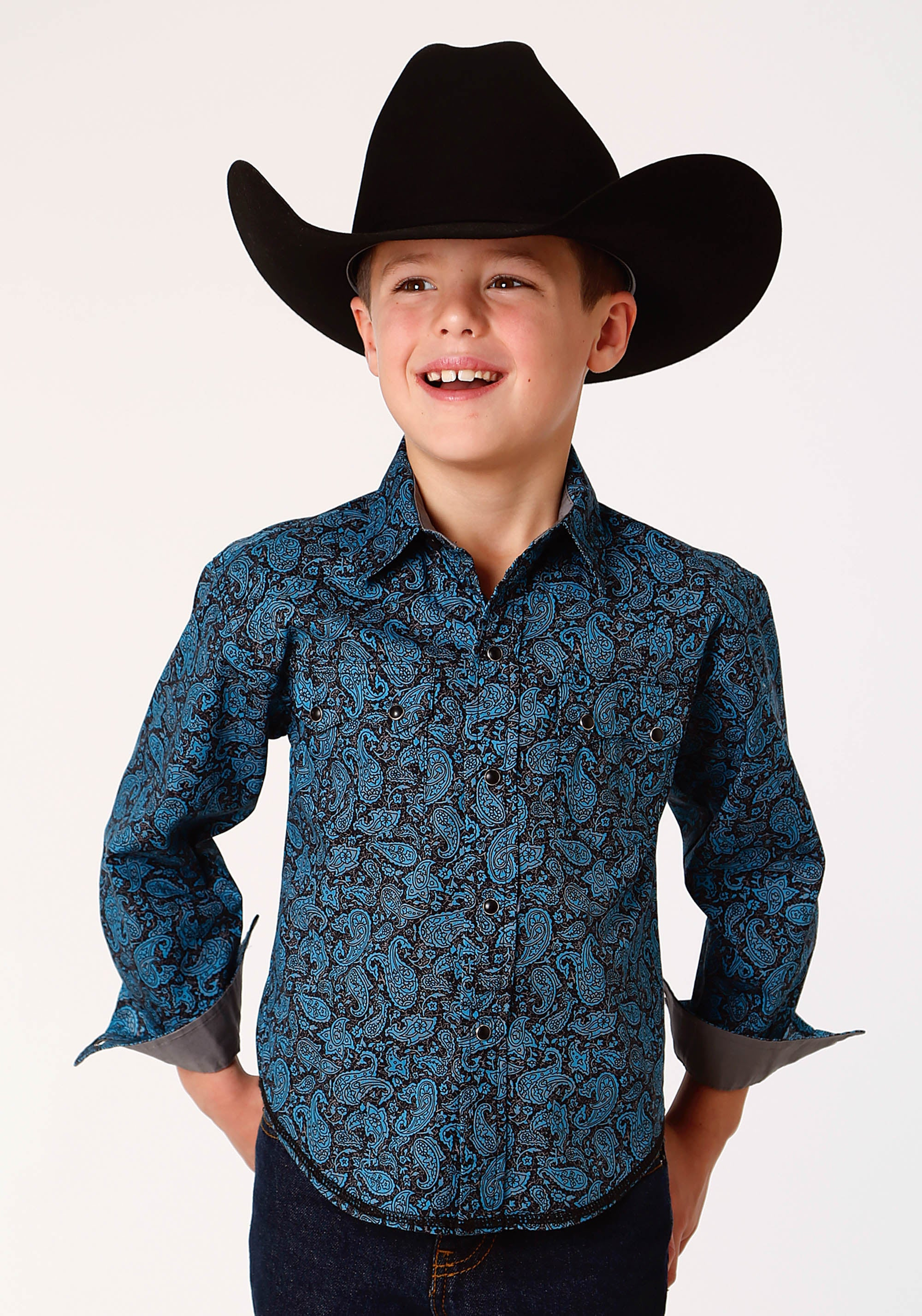 ROPER BOYS BLUE 0785 PAISLEY CRACKLE WEST MADE COLLECTION LONG SLEEVE