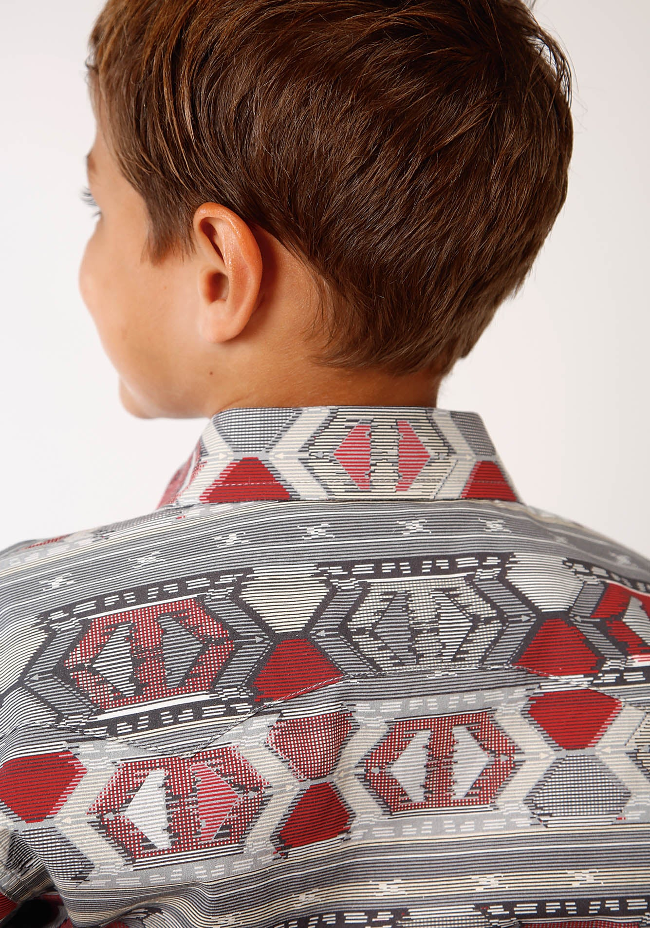ROPER BOYS RED 00179 AZTEC WEAVING PRINT WEST MADE COLLECTION LONG SLEEVE