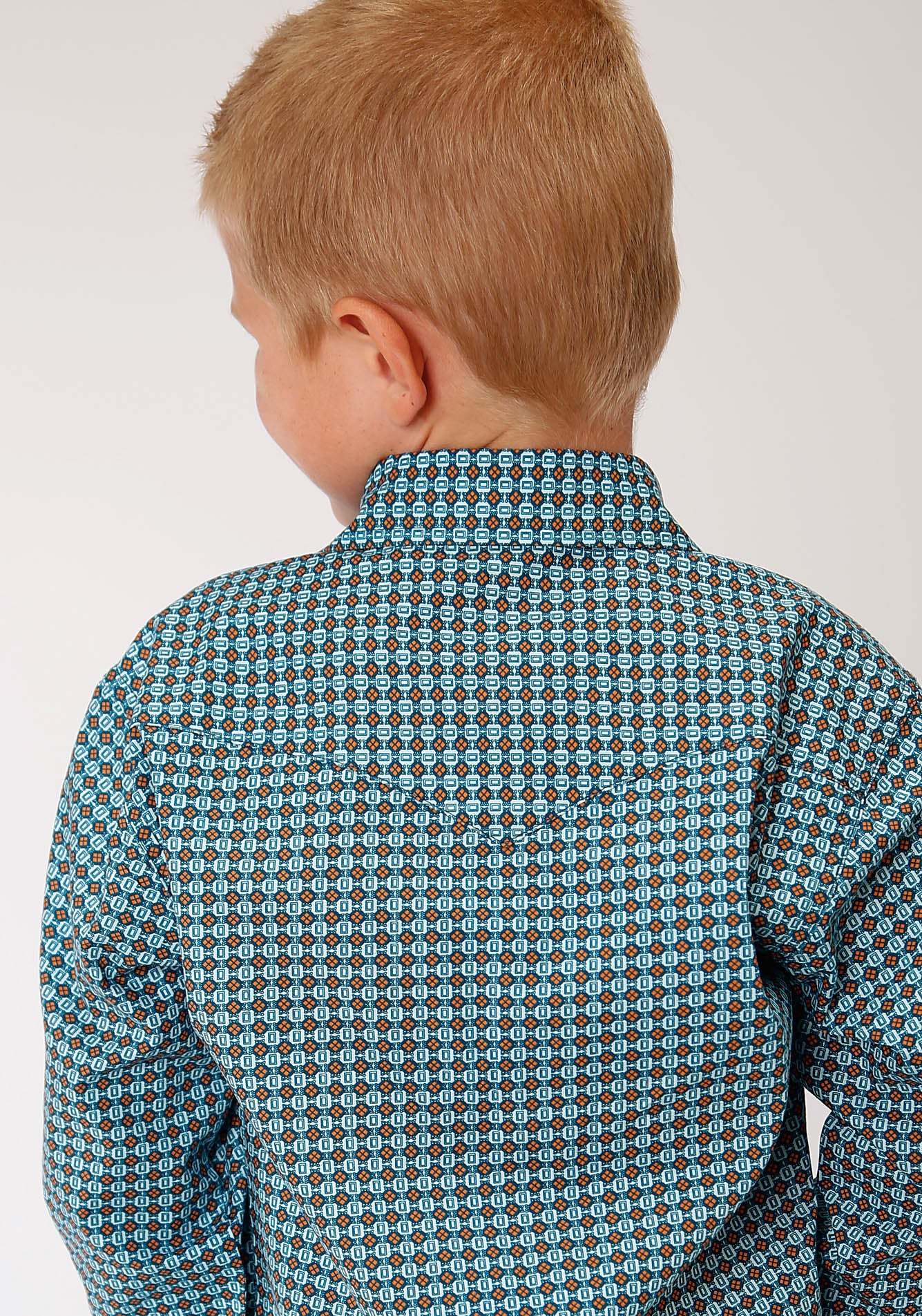 ROPER BOYS BLUE 00183 CENTRAL GEO WEST MADE COLLECTION LONG SLEEVE