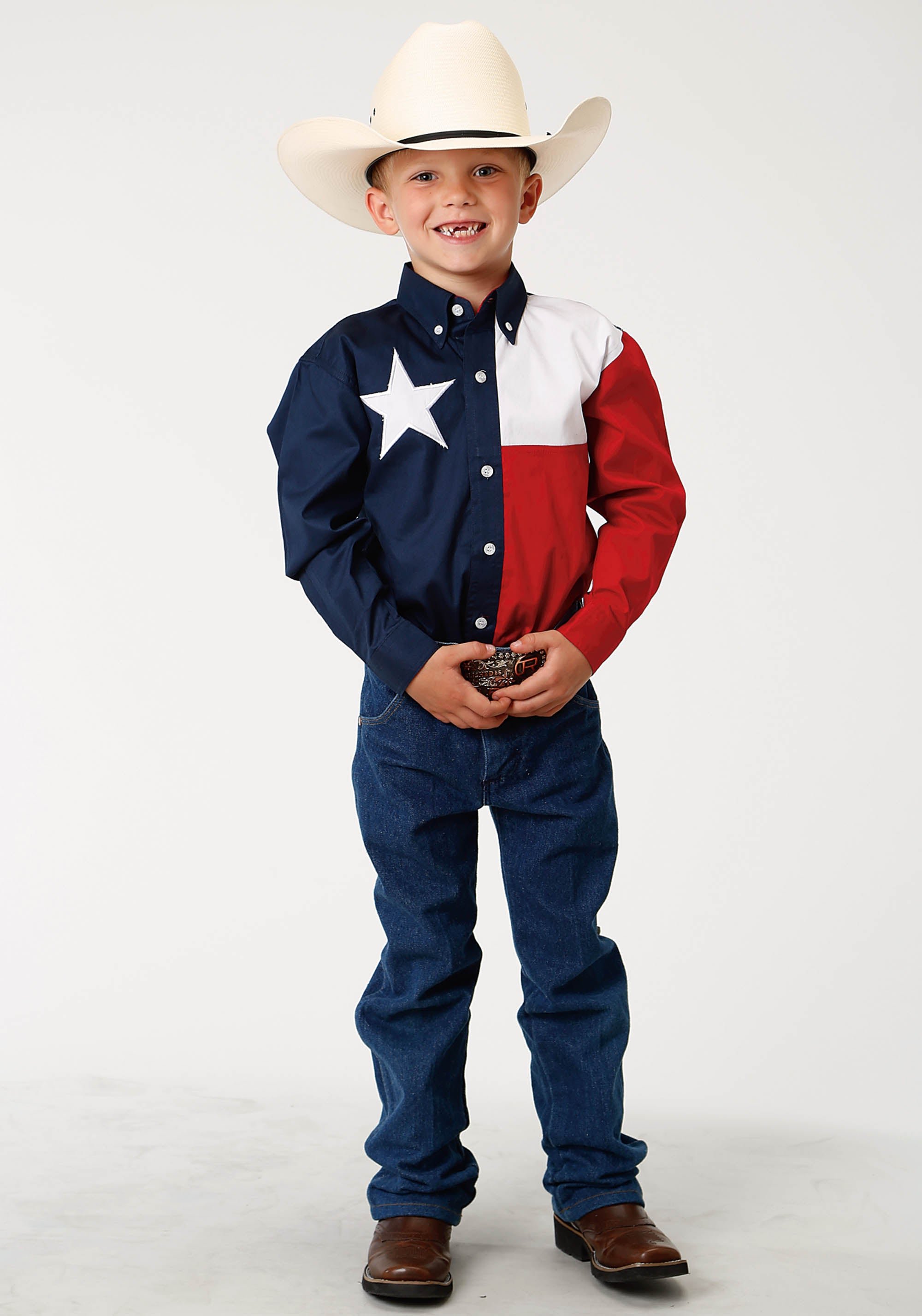 ROPER BOYS NAVY TEXAS PIECED FLAG TEXAS COLLECTION LONG SLEEVE SHIRT