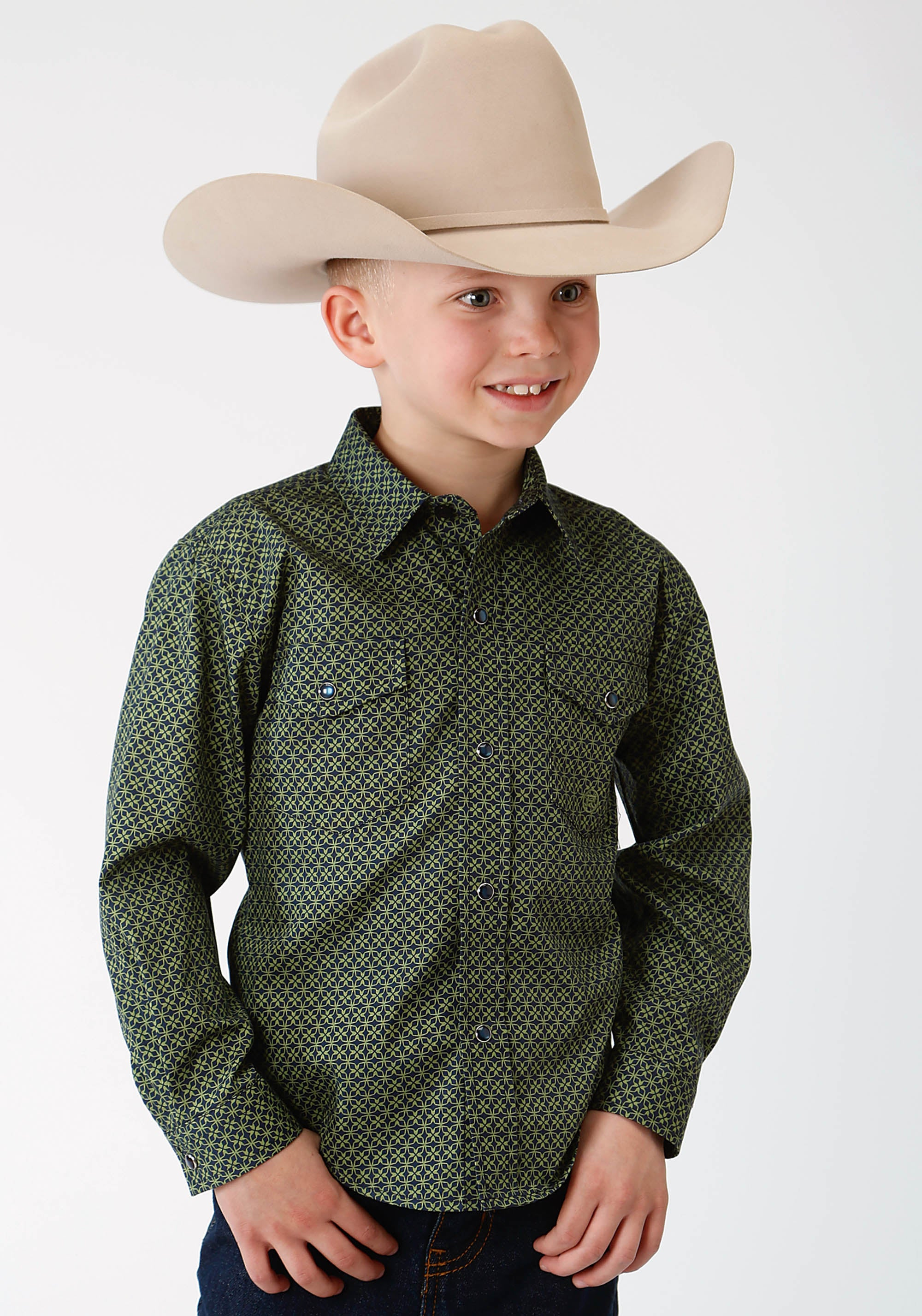 ROPER BOYS GREEN 1258 SATALITE GEO BOYS AMARILLO COLLECTION- MEADOW LONG SLEEVE