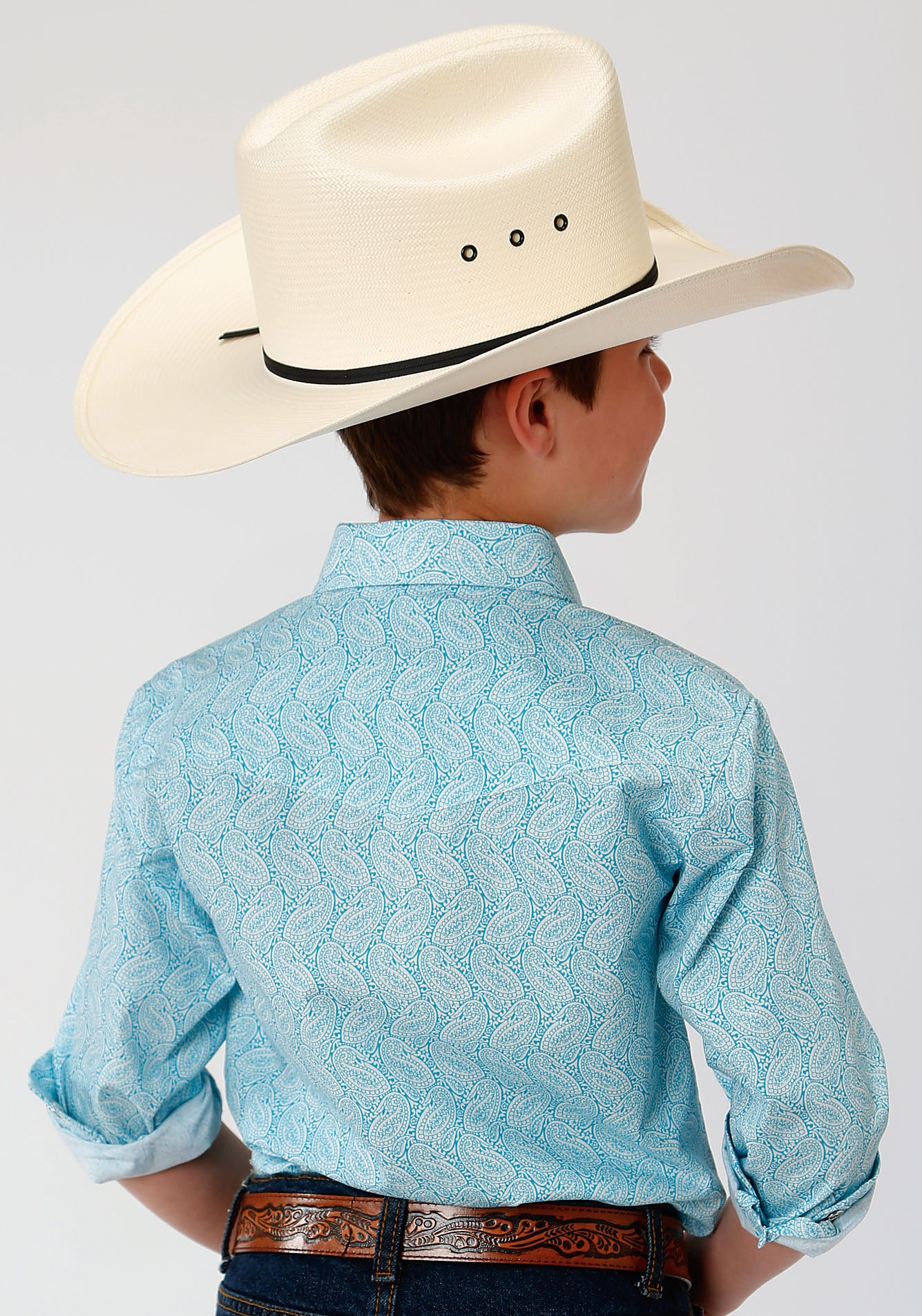 ROPER BOYS BLUE 00027 NESTED PAISLEY BOYS AMARILLO COLLECTION- OASIS LONG SLEEVE