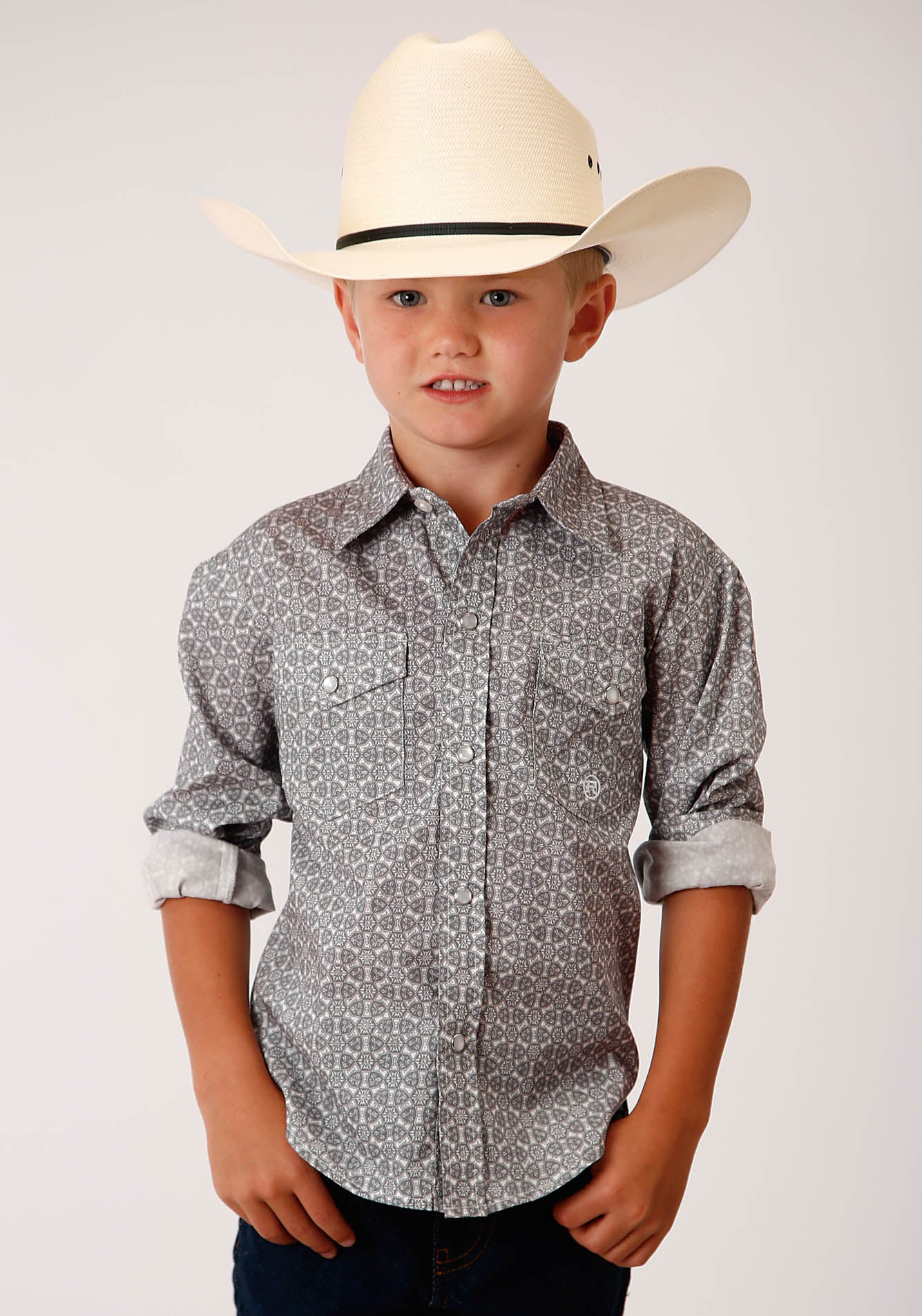 ROPER BOYS GREY 00154 SMOKE MEDALLION BOY'S AMARILLO COLLECTION - RED BARN LONG SLEEVE